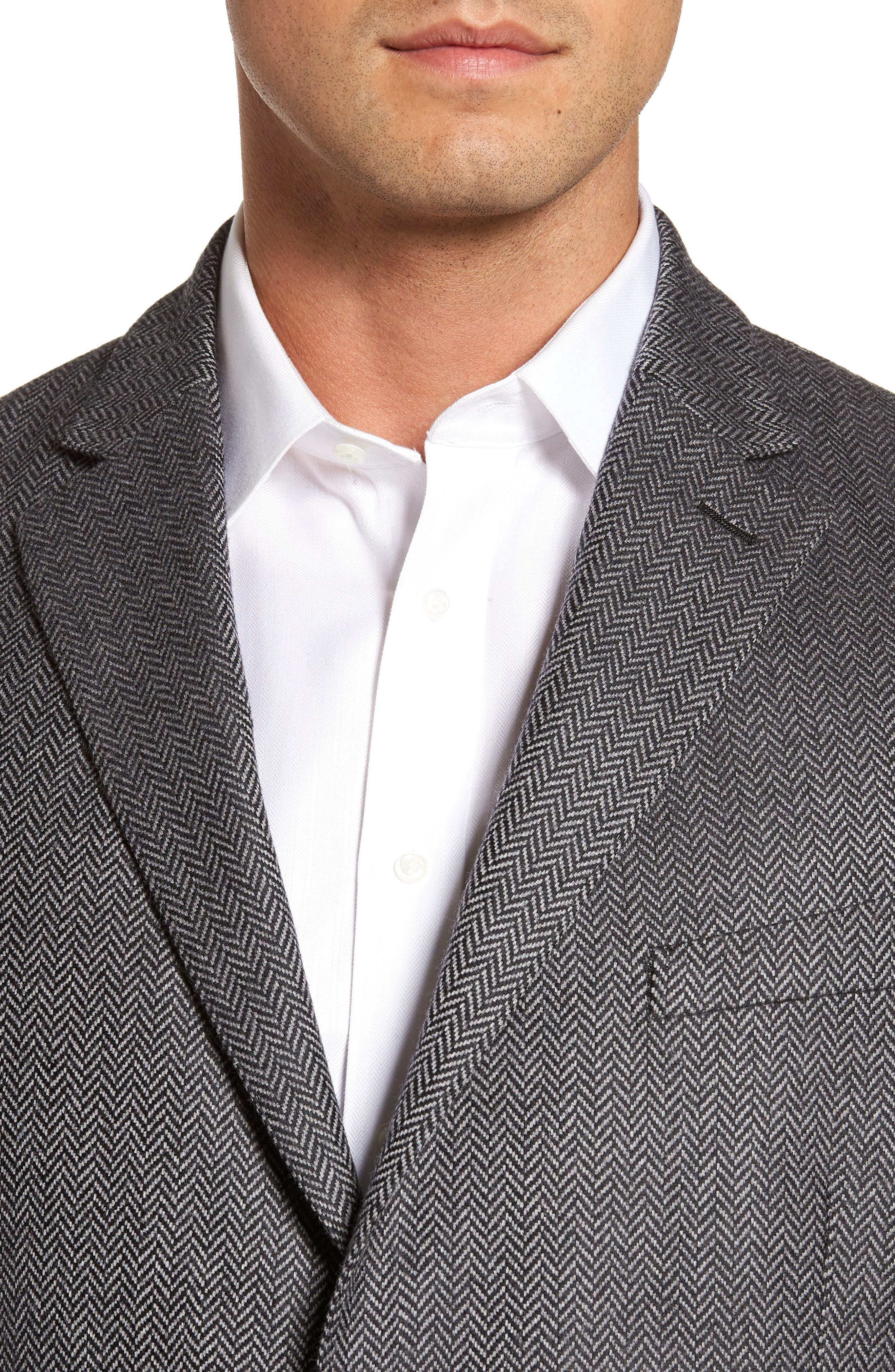 Classic Fit Herringbone Wool & Cashmere Jersey Sport Coat,                             Alternate thumbnail 4, color,