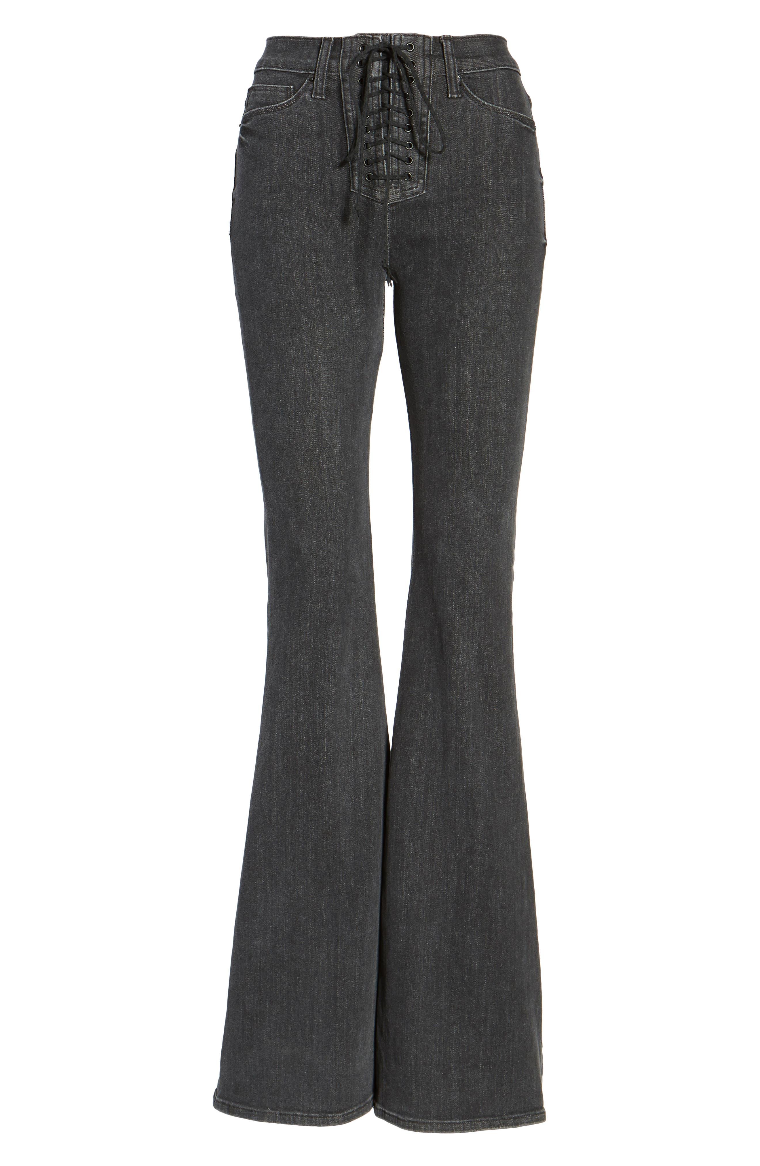 Bullocks High Waist Lace-Up Flare Jeans,                             Alternate thumbnail 6, color,                             064