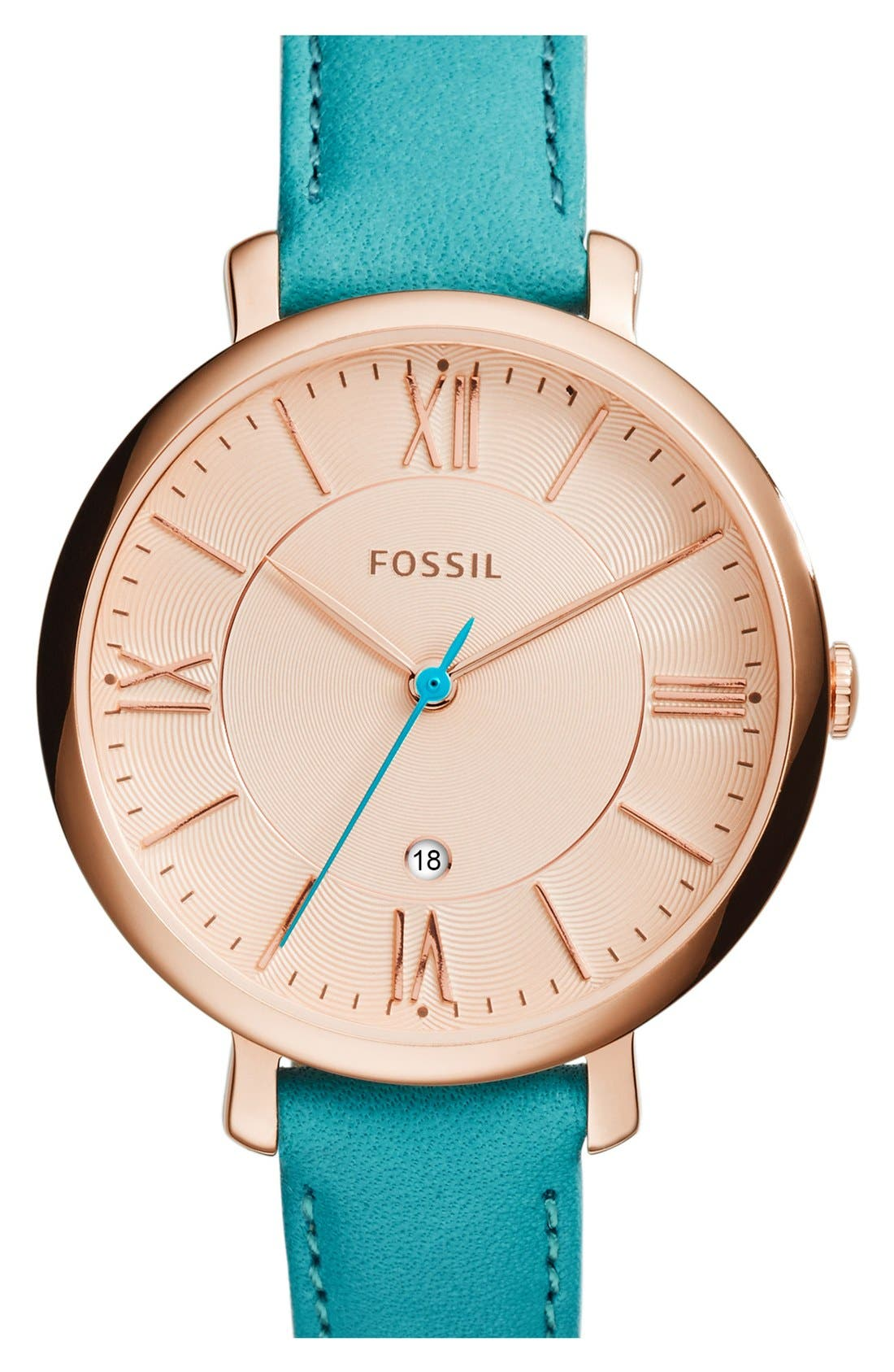 'Jacqueline' Round Leather Strap Watch, 36mm,                             Main thumbnail 13, color,