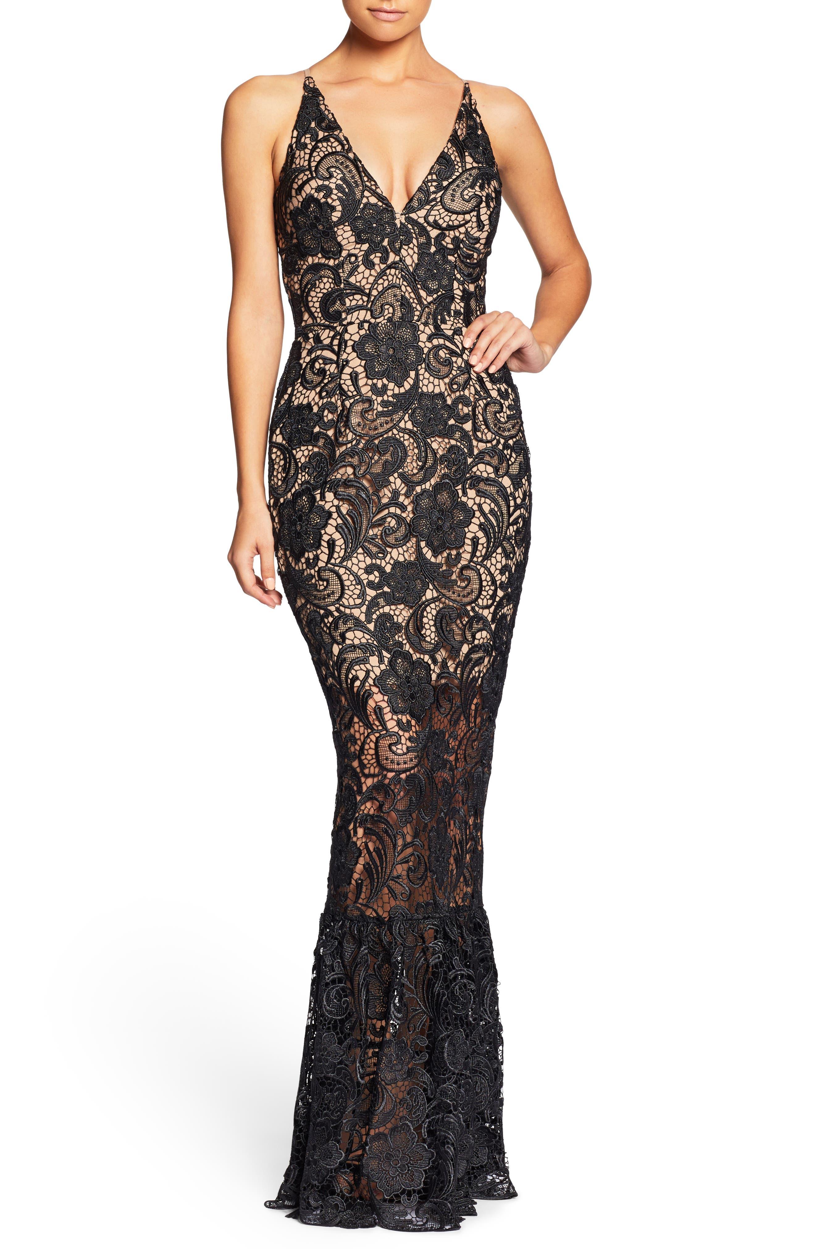 Sophia Crochet Lace Mermaid Gown,                             Alternate thumbnail 4, color,                             014