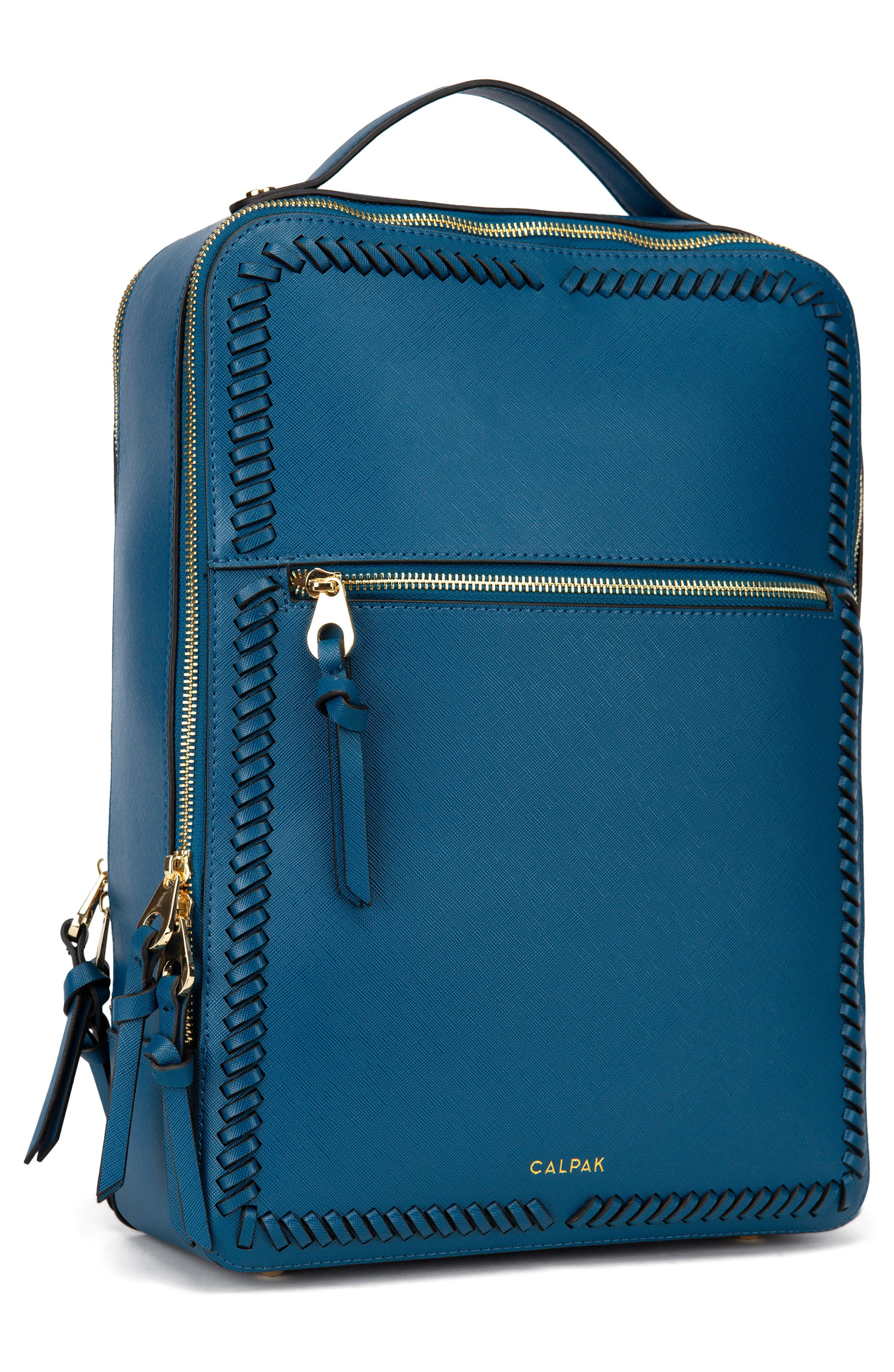 Kaya Faux Leather 15-Inch Laptop Backpack,                             Alternate thumbnail 6, color,                             DEEP BLUE
