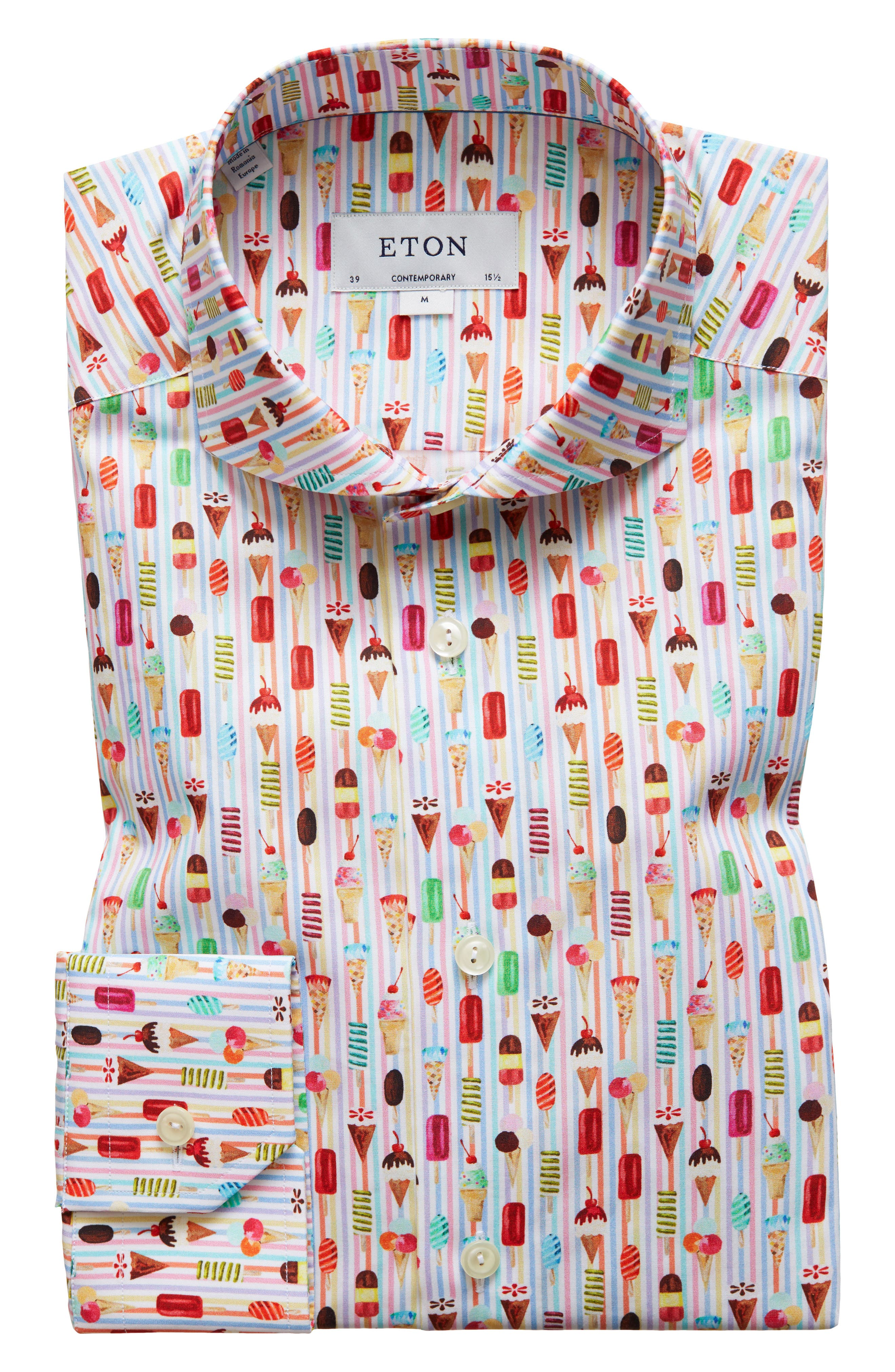 Contemporary Fit Print Dress Shirt,                         Main,                         color, PINK/ RED