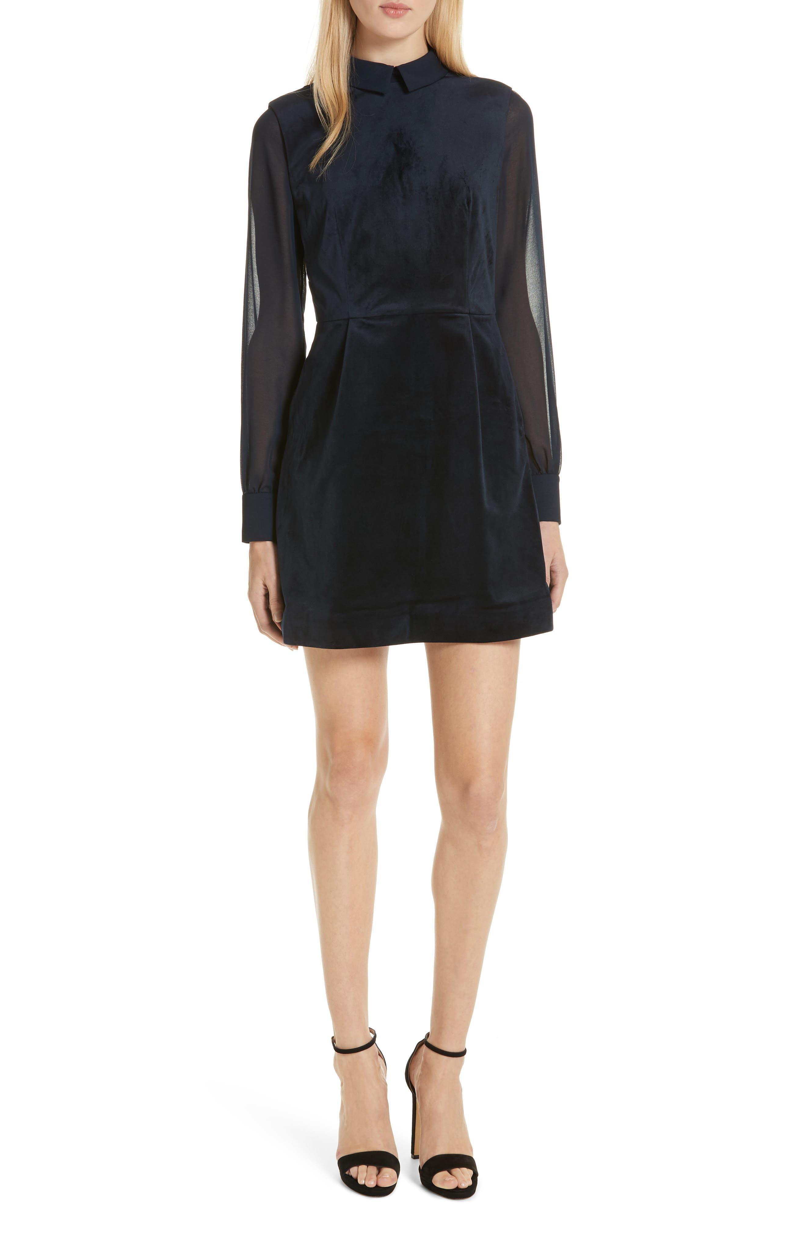 Ted Baker London Lourah Georgette Sleeve Velvet Minidress, Blue