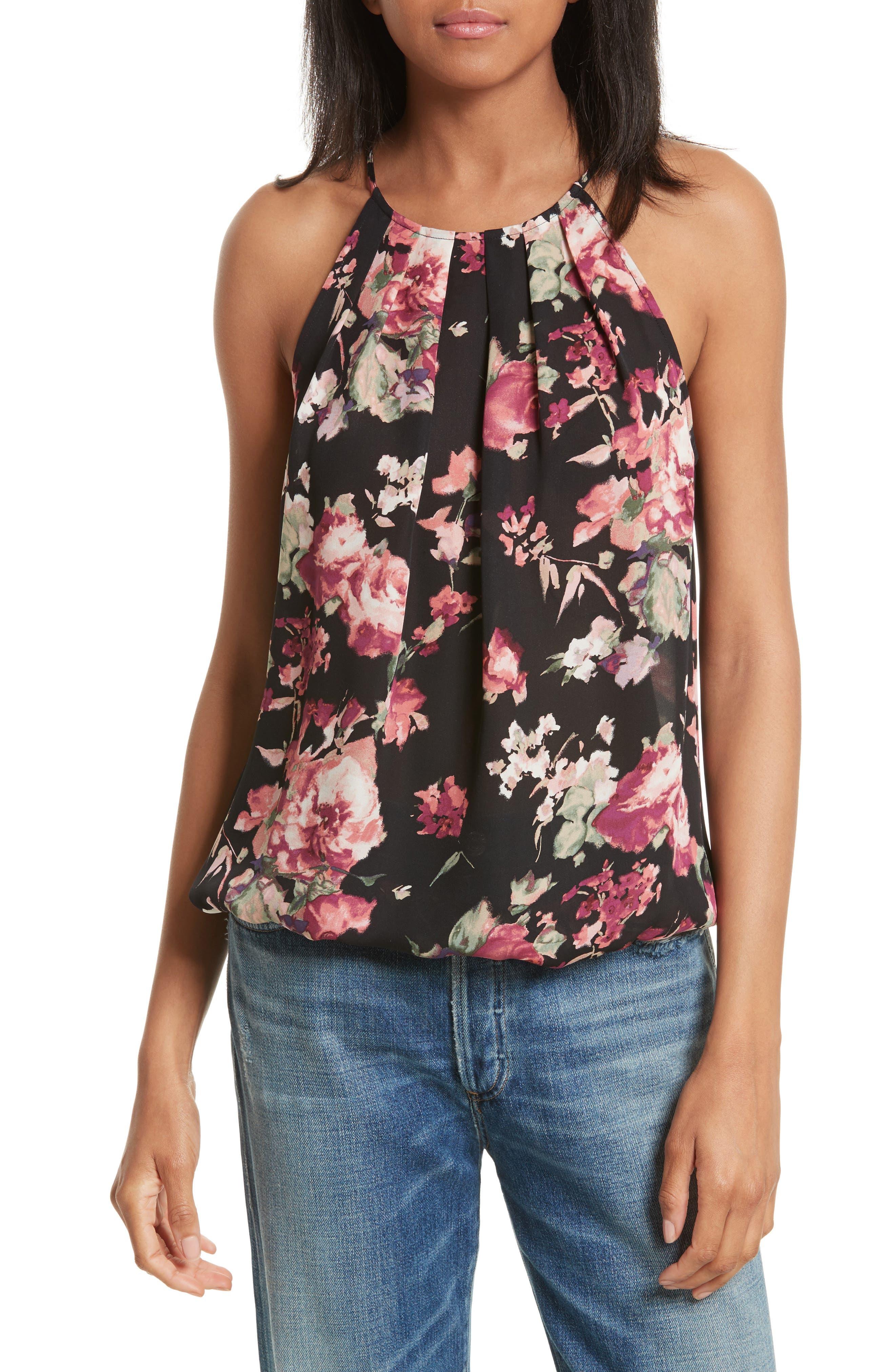 Anatase C Floral Print Sleeveless Silk Top,                             Main thumbnail 1, color,                             002