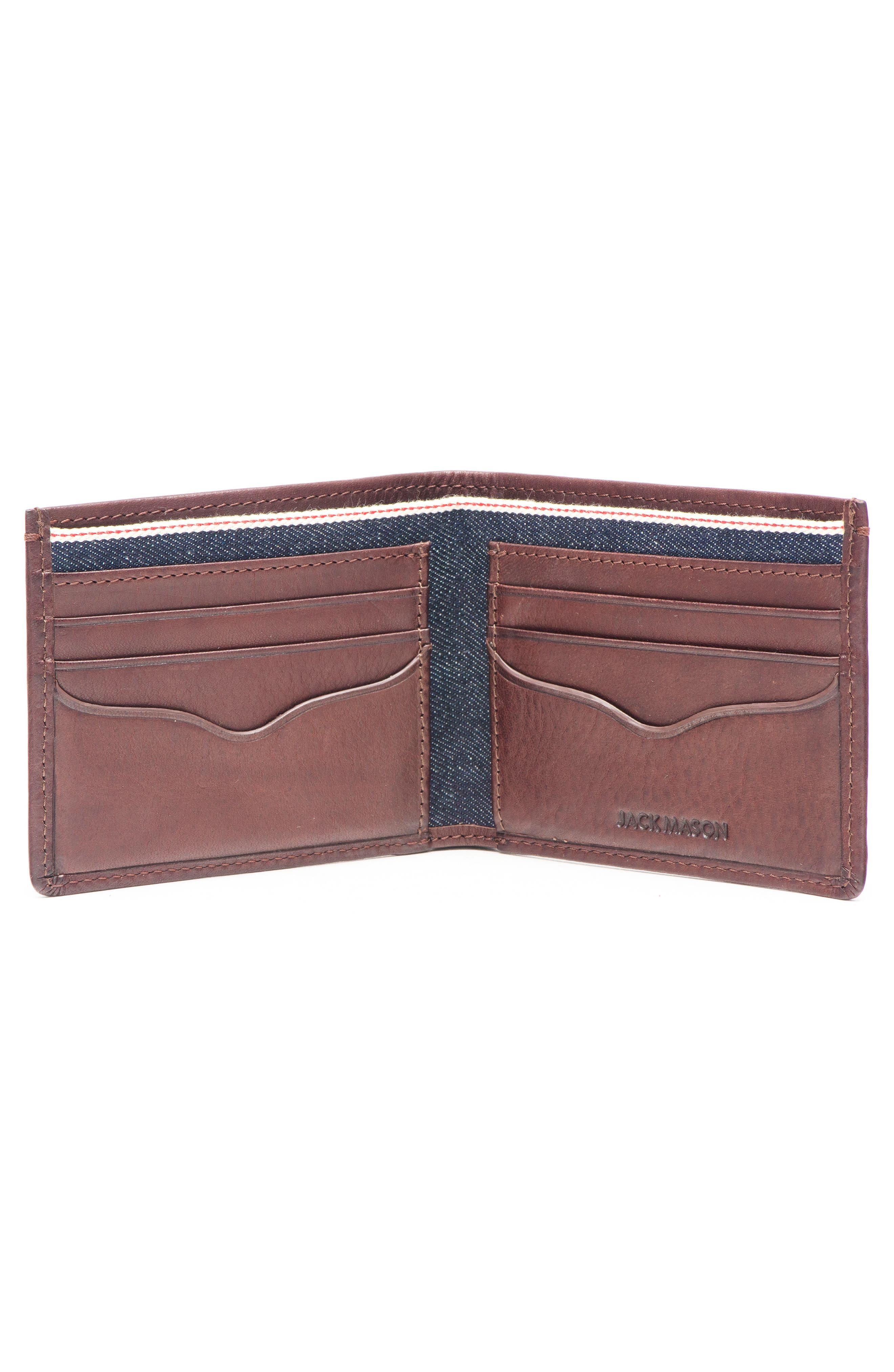 Leather & Denim Bifold Wallet,                             Alternate thumbnail 2, color,