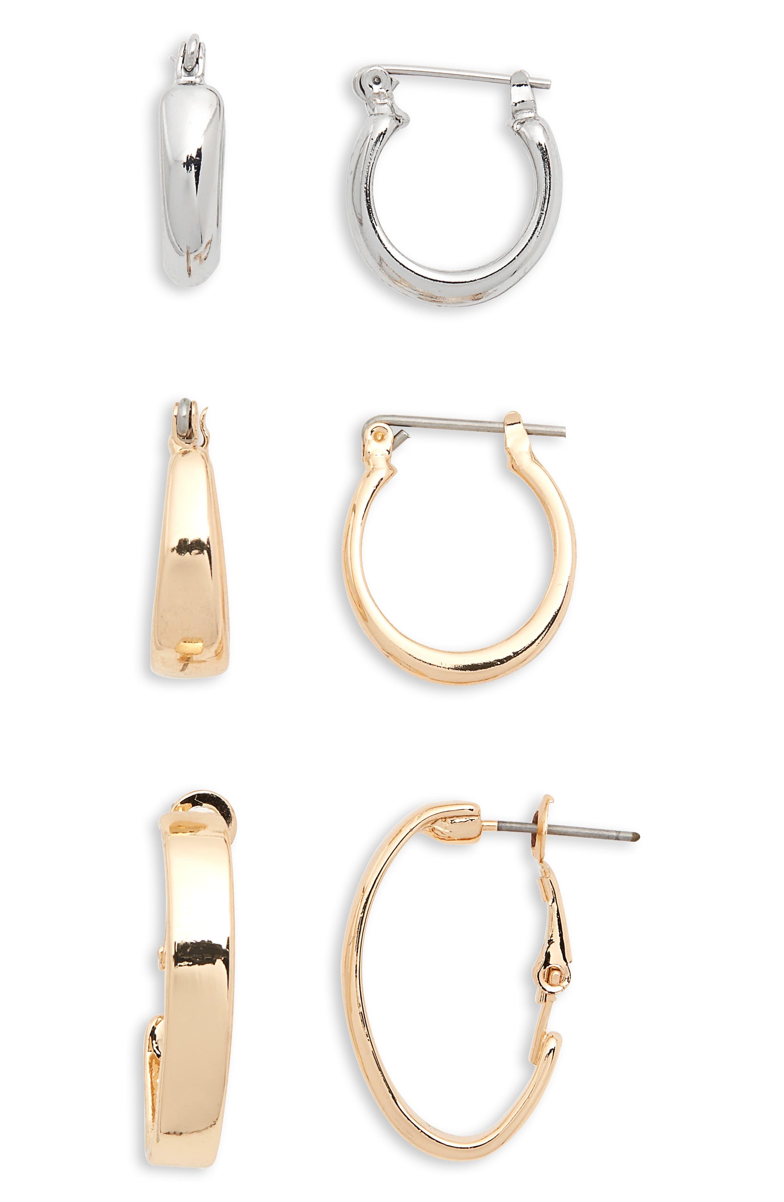 Mini Huggie 3-Pack Hoop Earrings,                             Main thumbnail 1, color,                             710