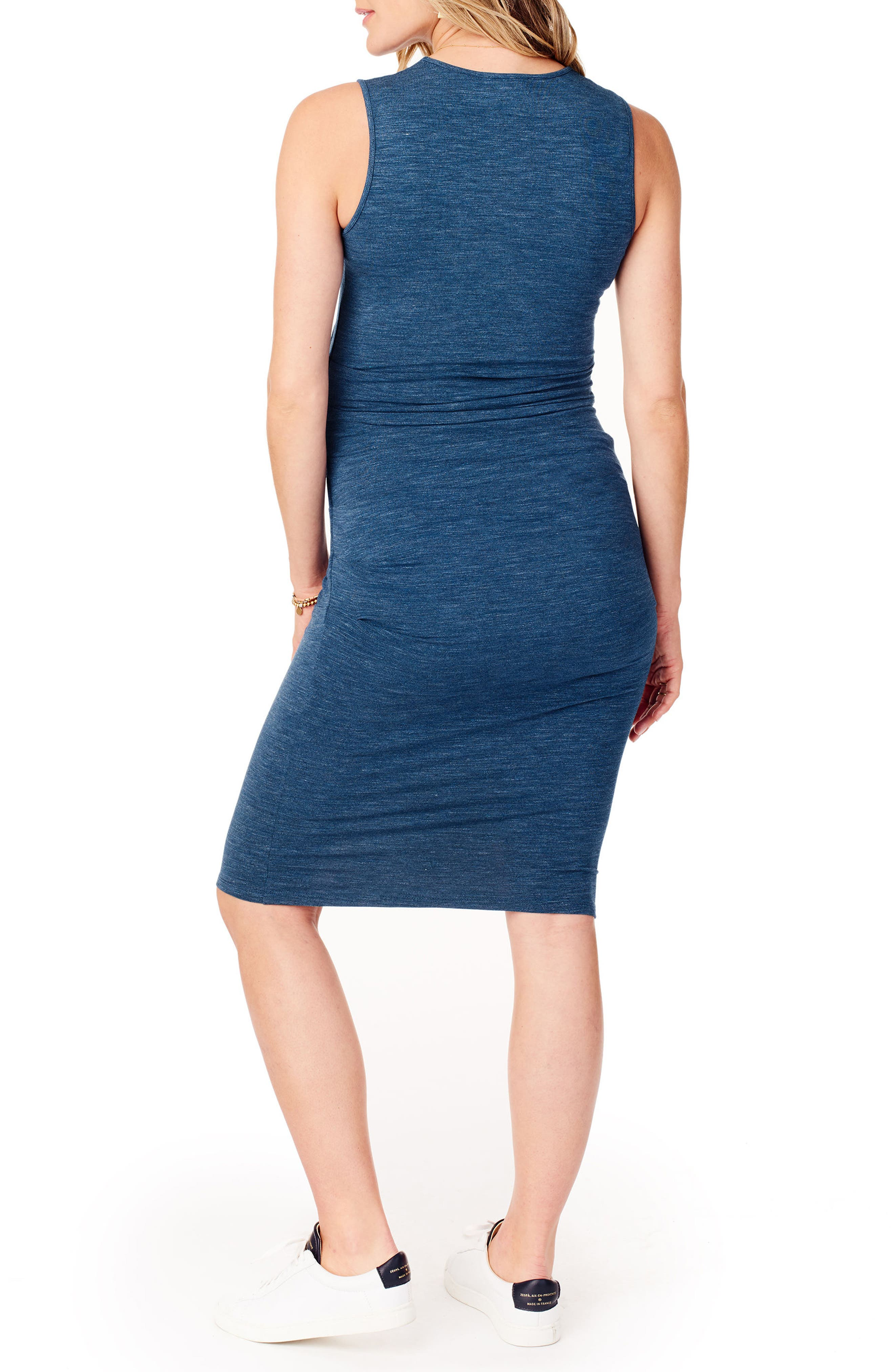 Ruched Maternity Tank Dress,                             Alternate thumbnail 2, color,                             INDIGO HEATHER