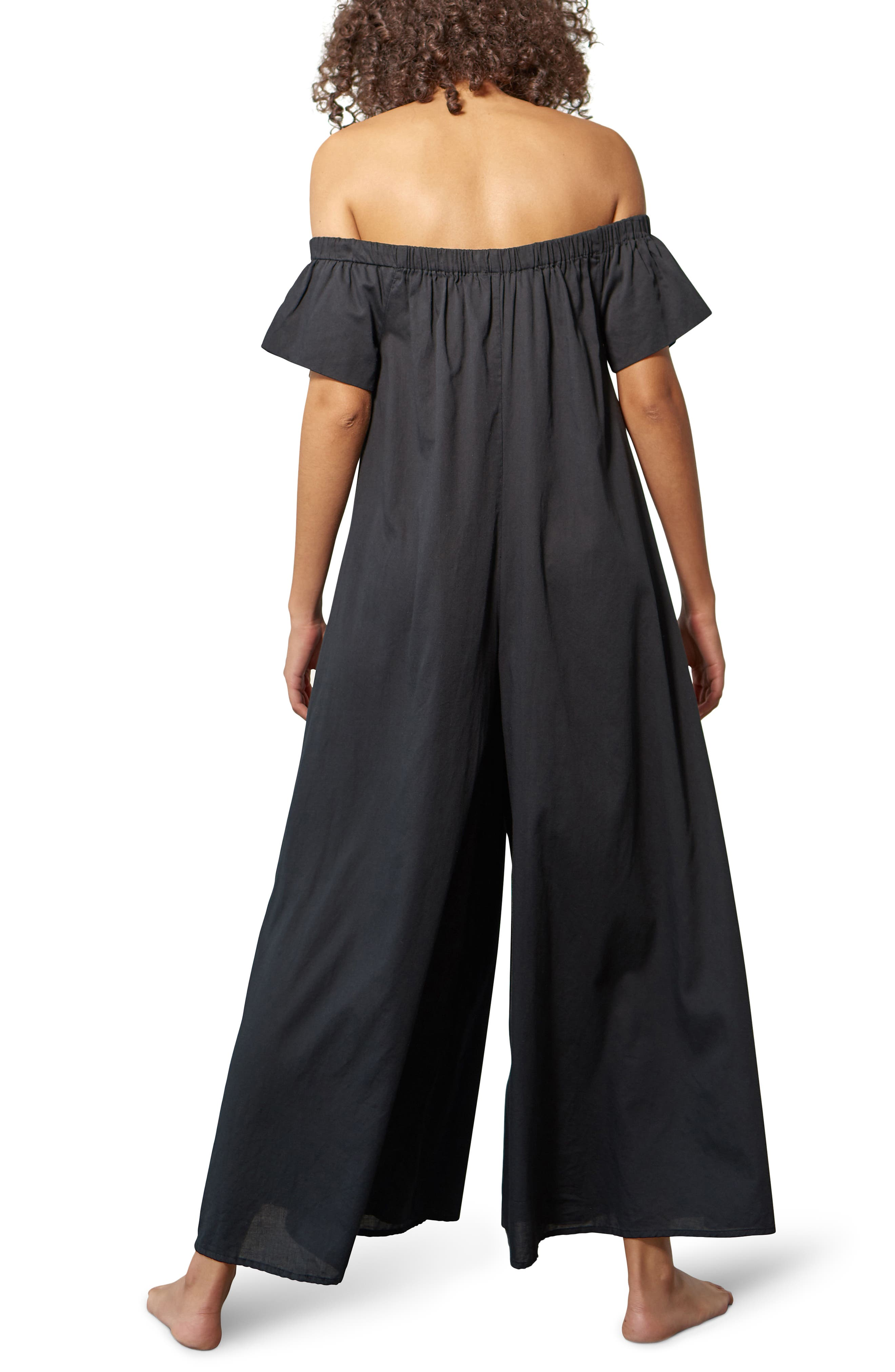 Blanche Off the Shoulder Cover-Up Jumpsuit,                             Alternate thumbnail 2, color,                             001