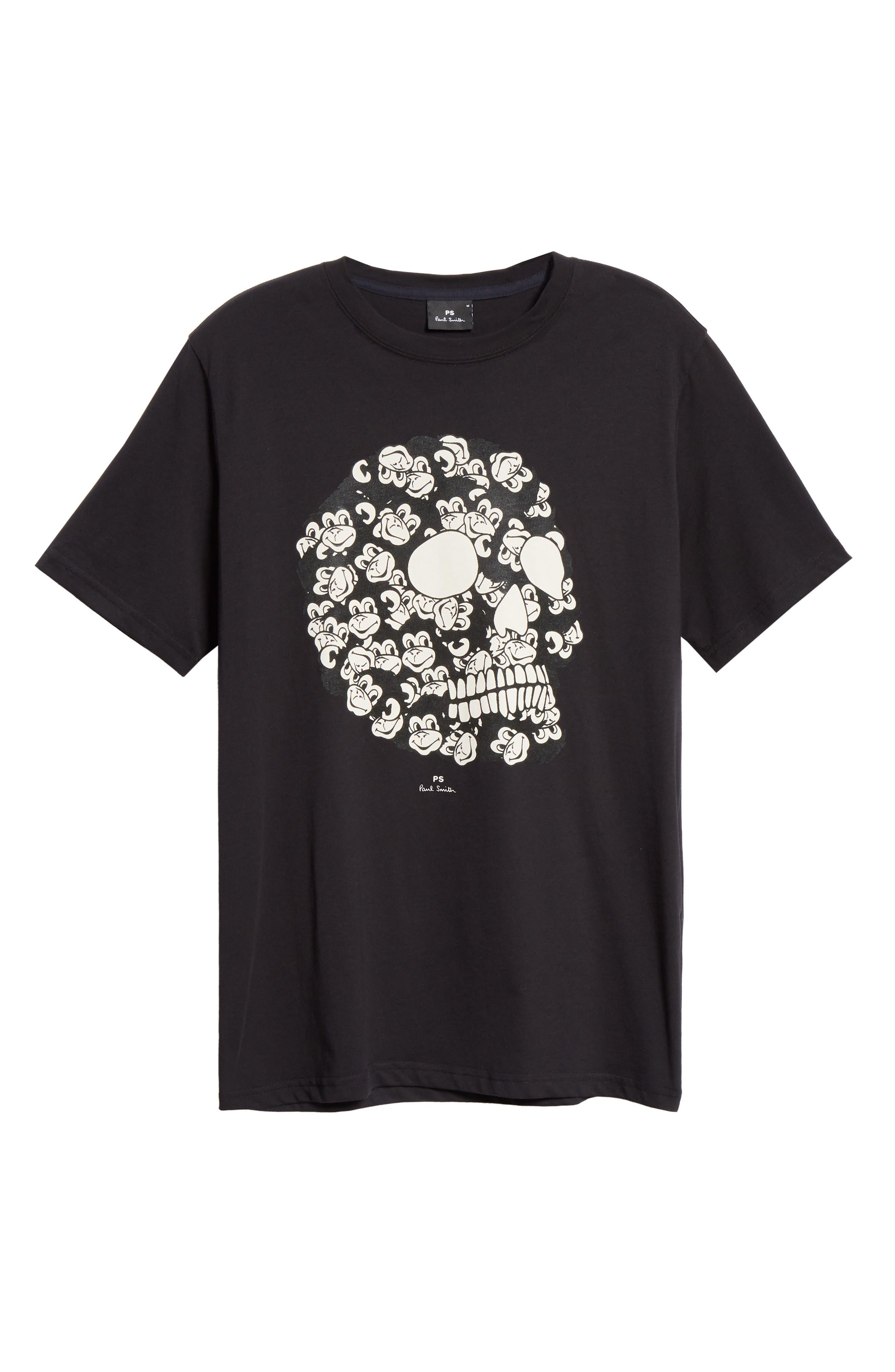 Monkey Skull Graphic T-Shirt,                             Alternate thumbnail 6, color,                             BLACK