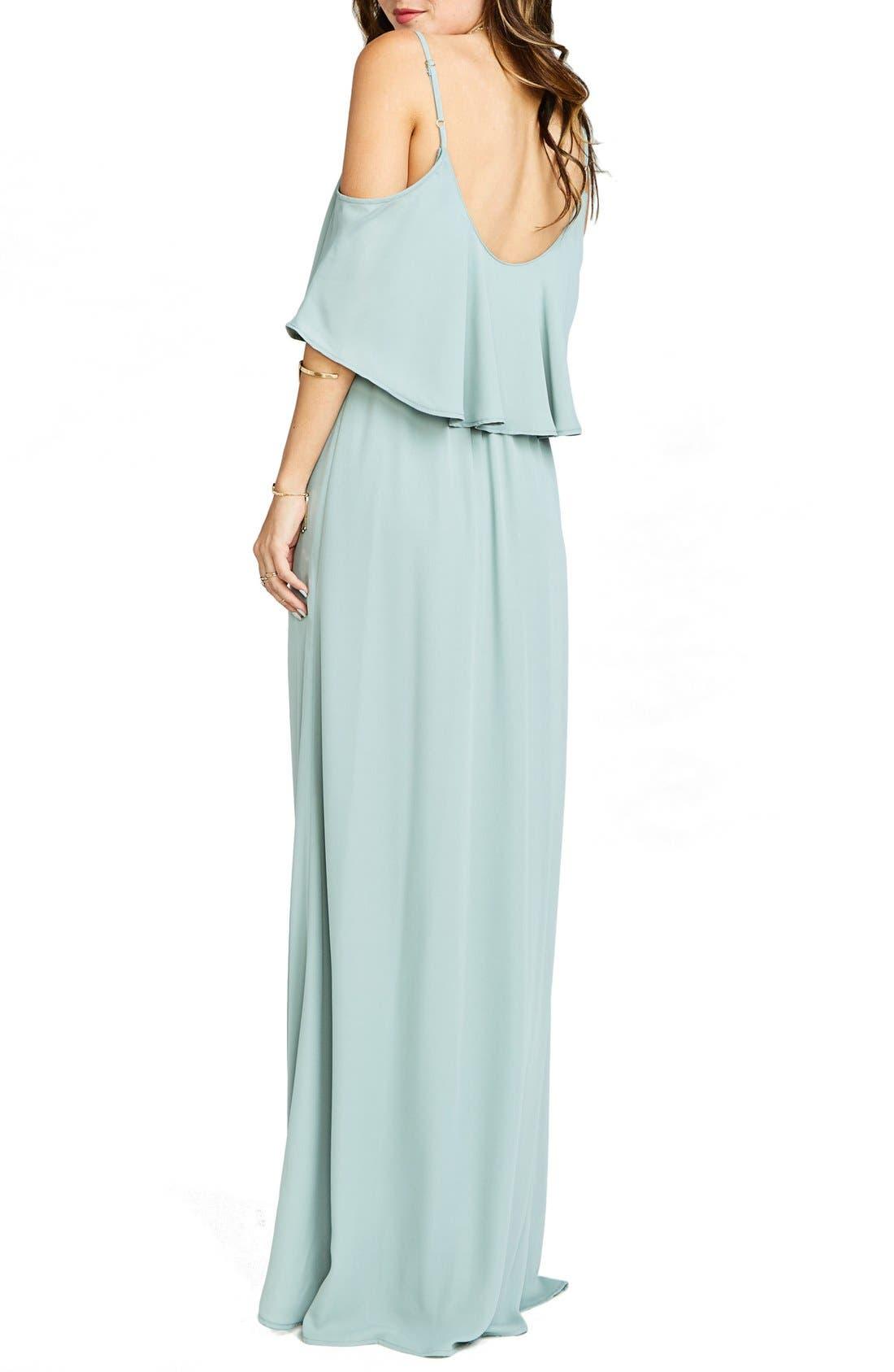 Caitlin Cold Shoulder Chiffon Gown,                             Alternate thumbnail 26, color,