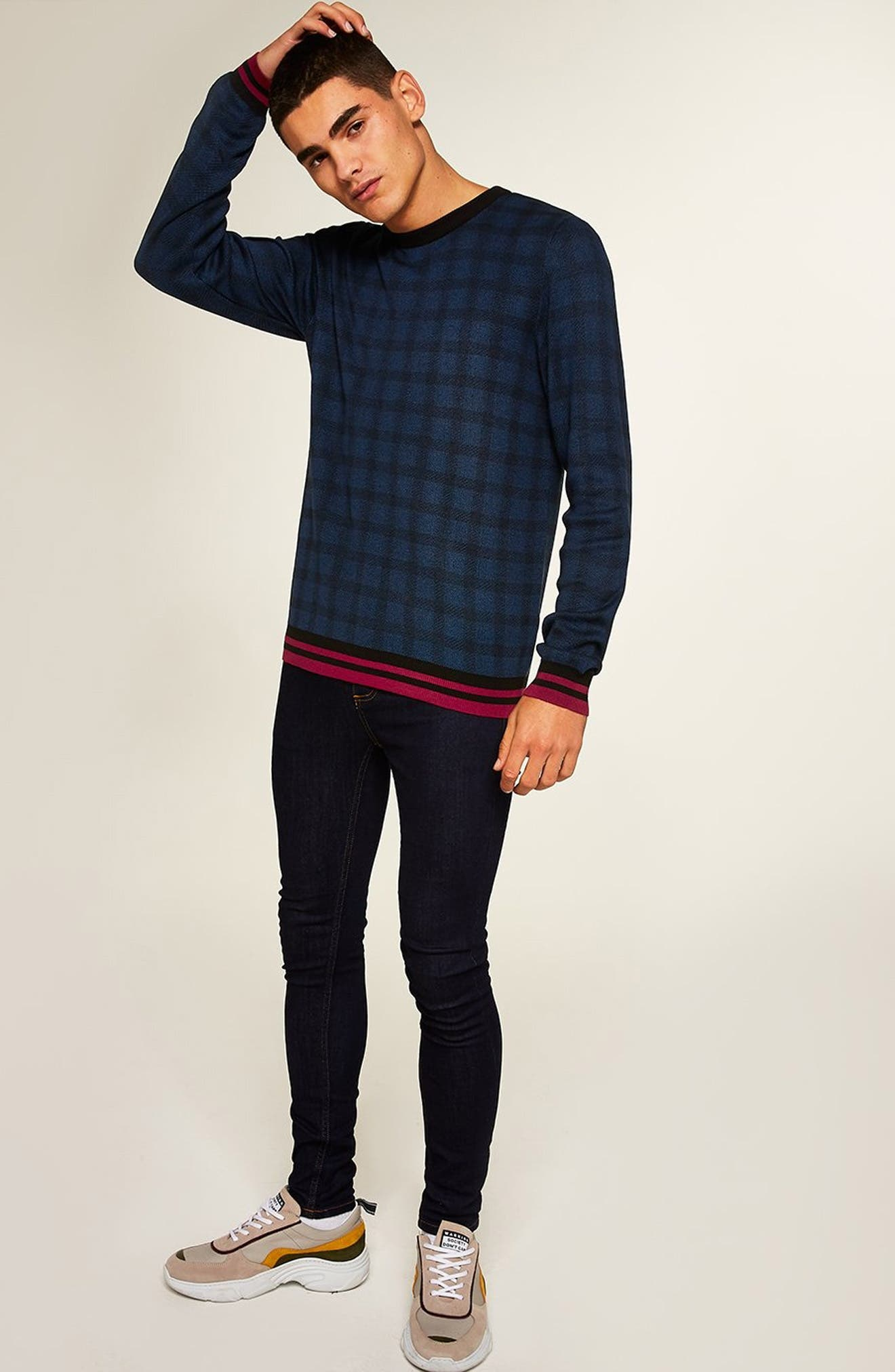Check Print Classic Fit Sweater,                             Alternate thumbnail 5, color,                             BLUE MULTI