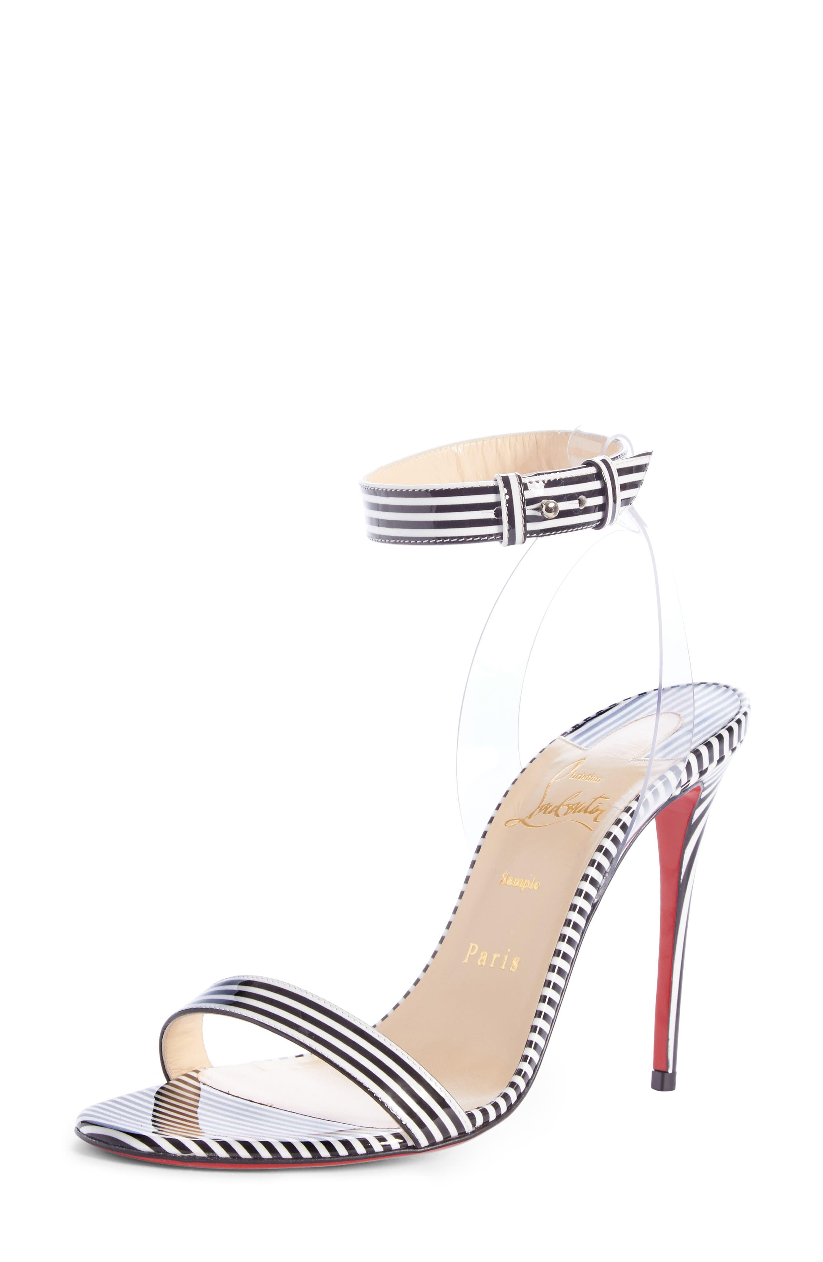 ef071c81533 Christian Louboutin Jonatina 100 Pvc-Trimmed Striped Patent-Leather Sandals  In Black Stripe