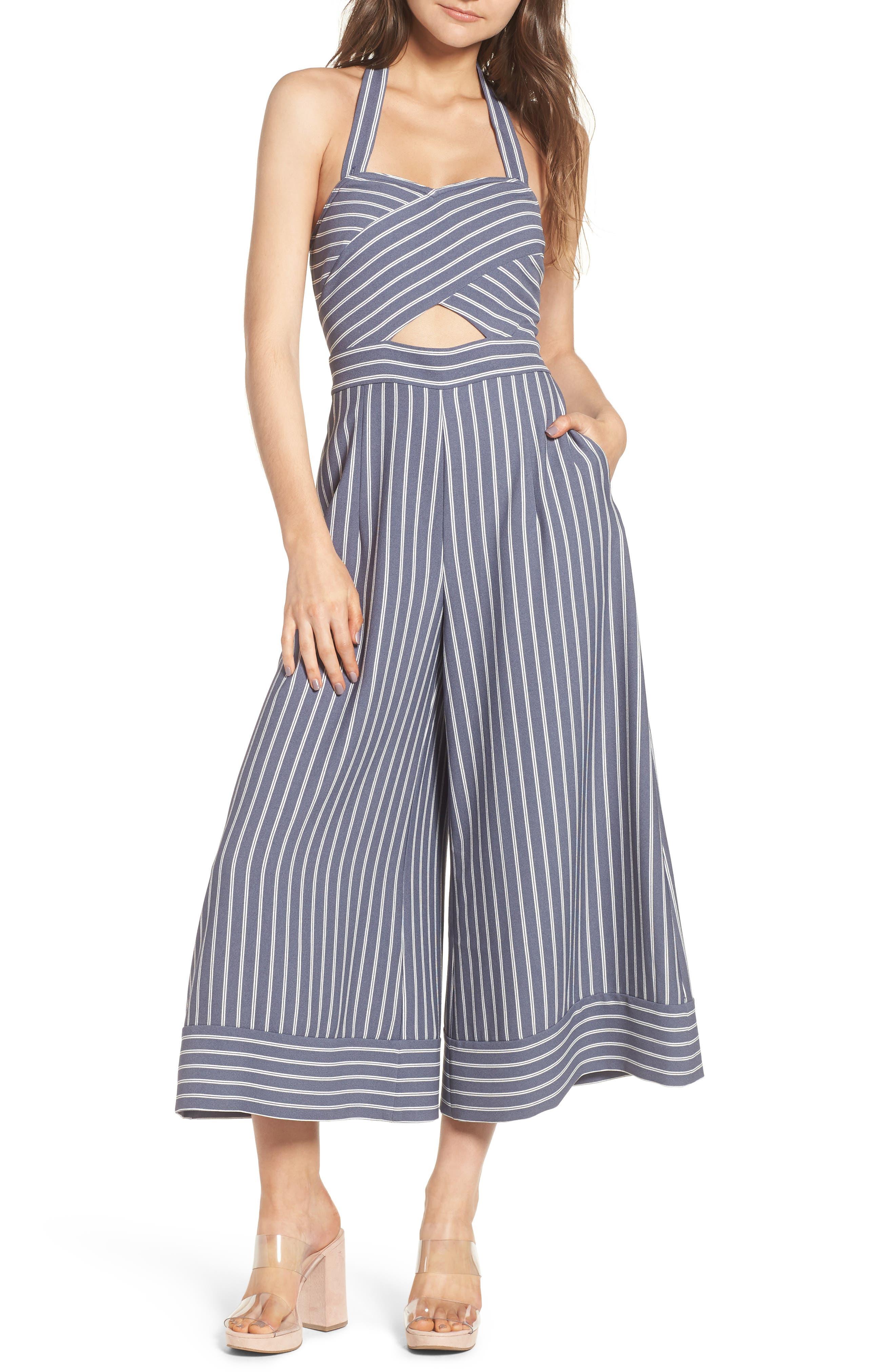 Stripe Convertible Halter Jumpsuit,                         Main,                         color,