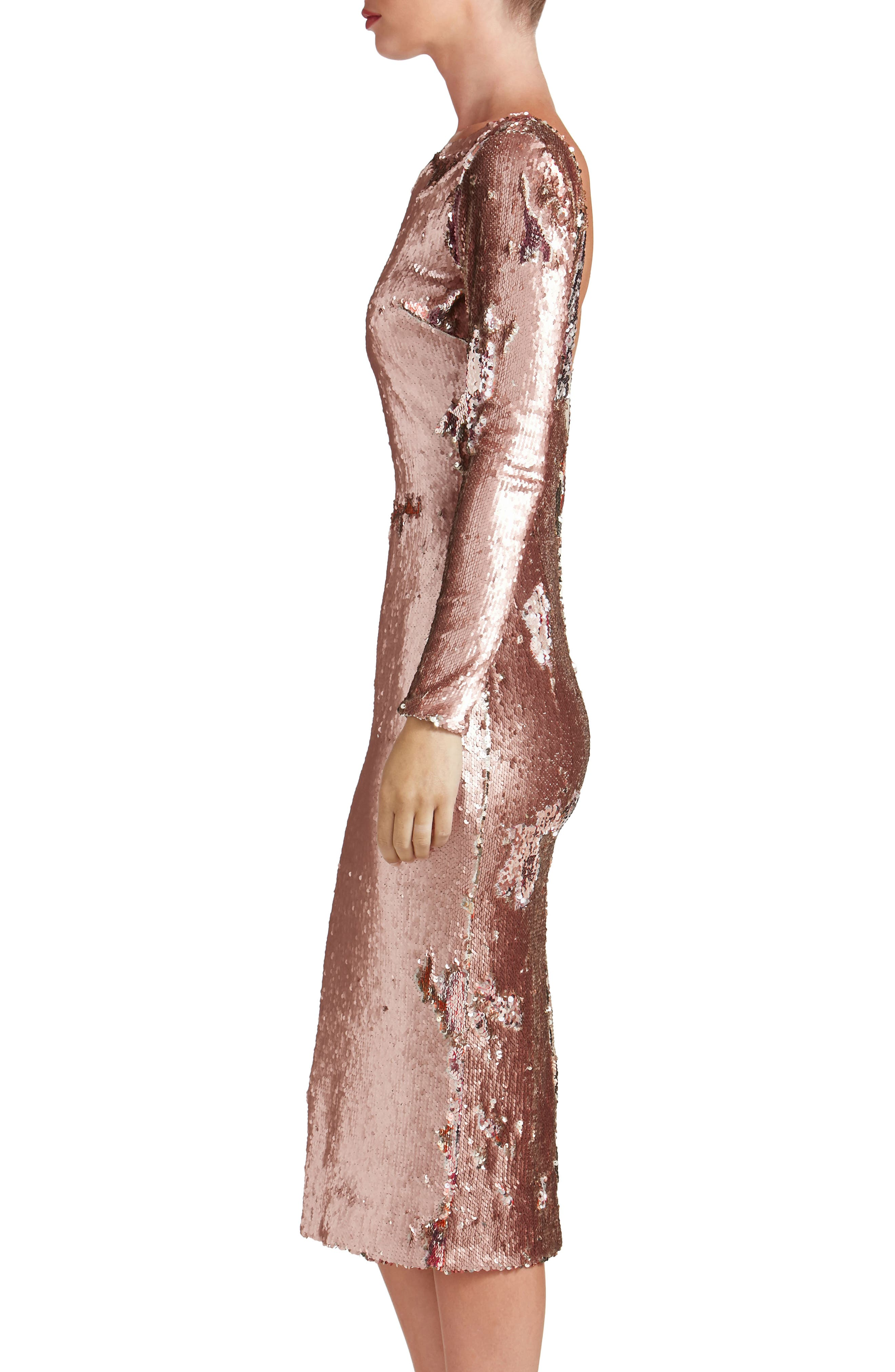 Emery Scoop Back Reversible Sequin Body-Con Dress,                             Alternate thumbnail 8, color,