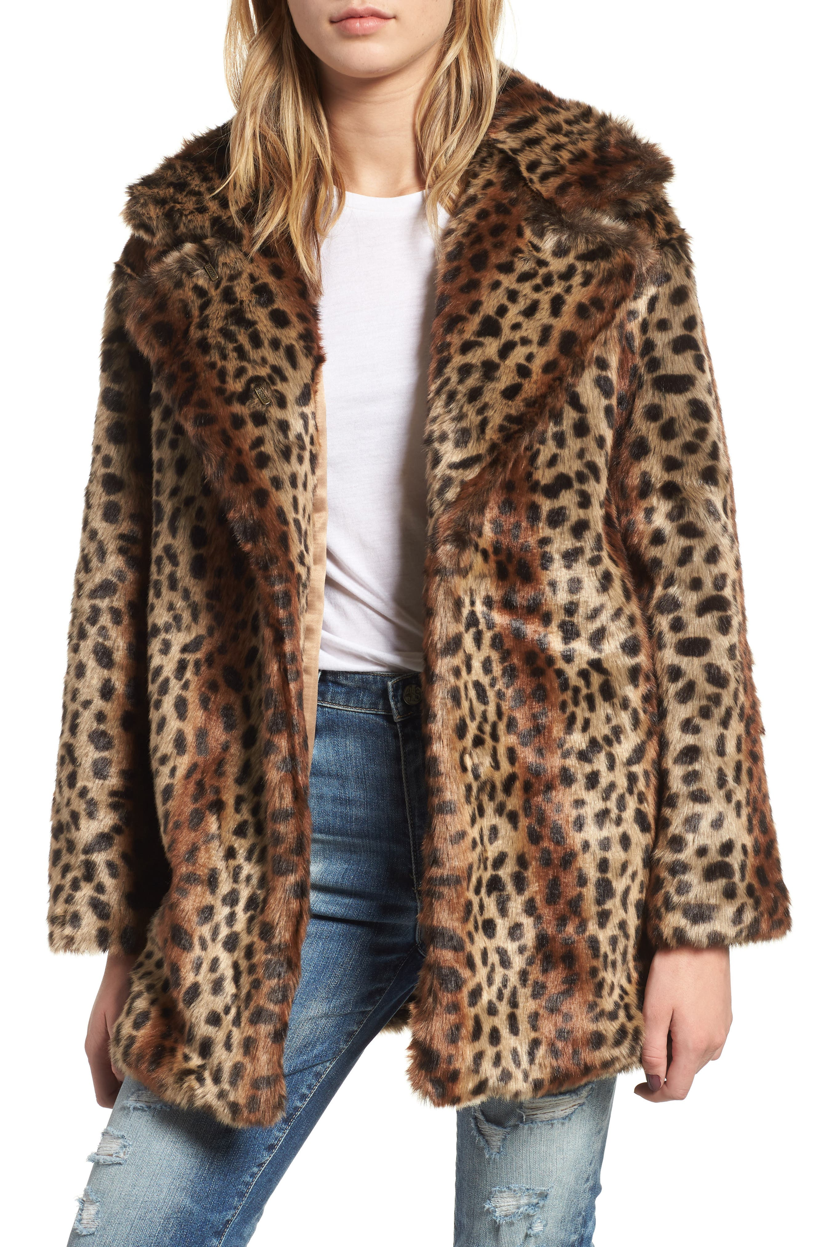 Mika Leopard Faux Fur Jacket,                             Main thumbnail 1, color,                             200