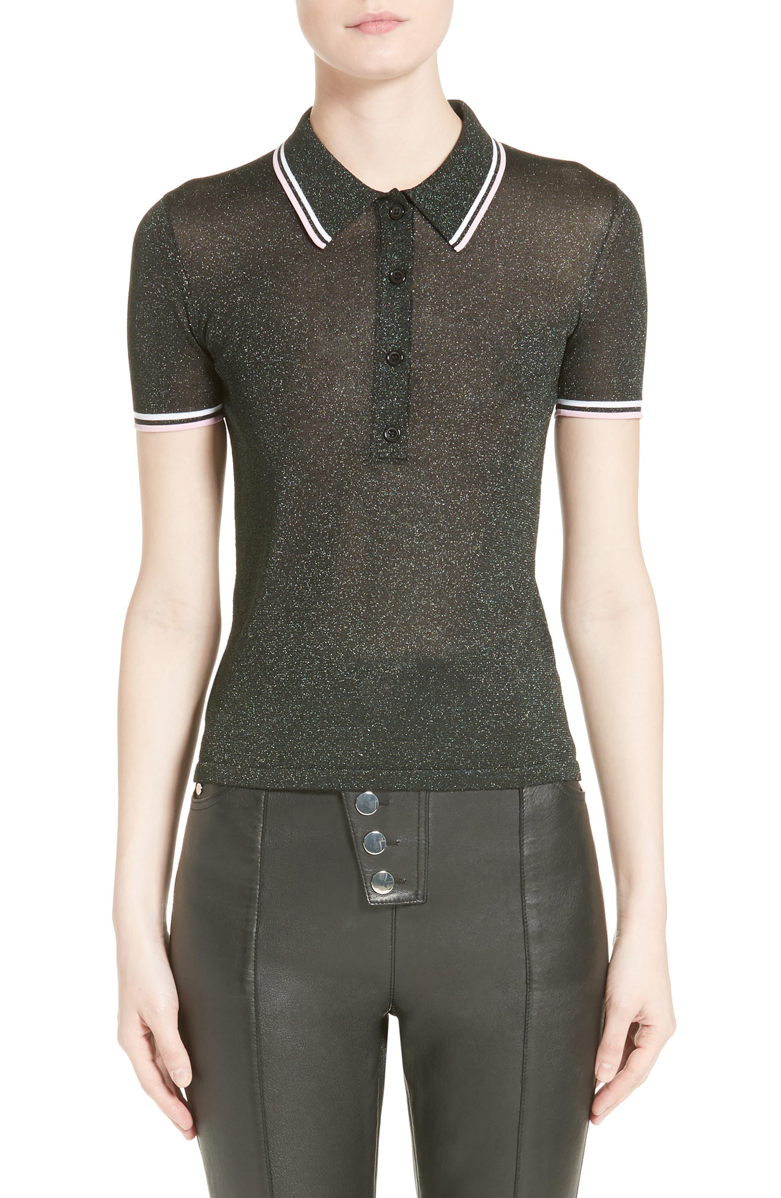Metallic Knit Polo,                         Main,                         color, 316