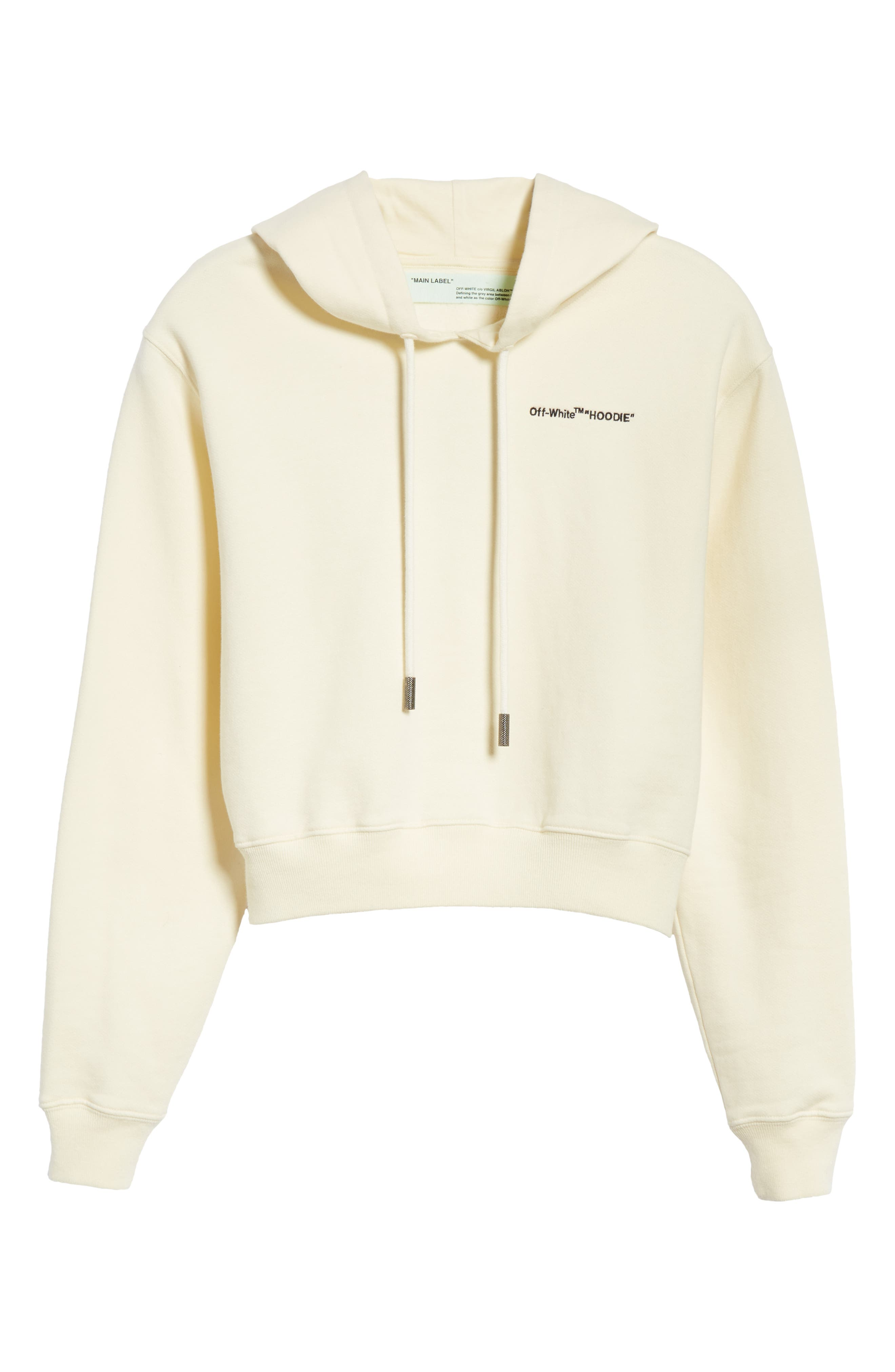 Quotes Crop Hoodie,                             Alternate thumbnail 6, color,                             WHITE BLACK