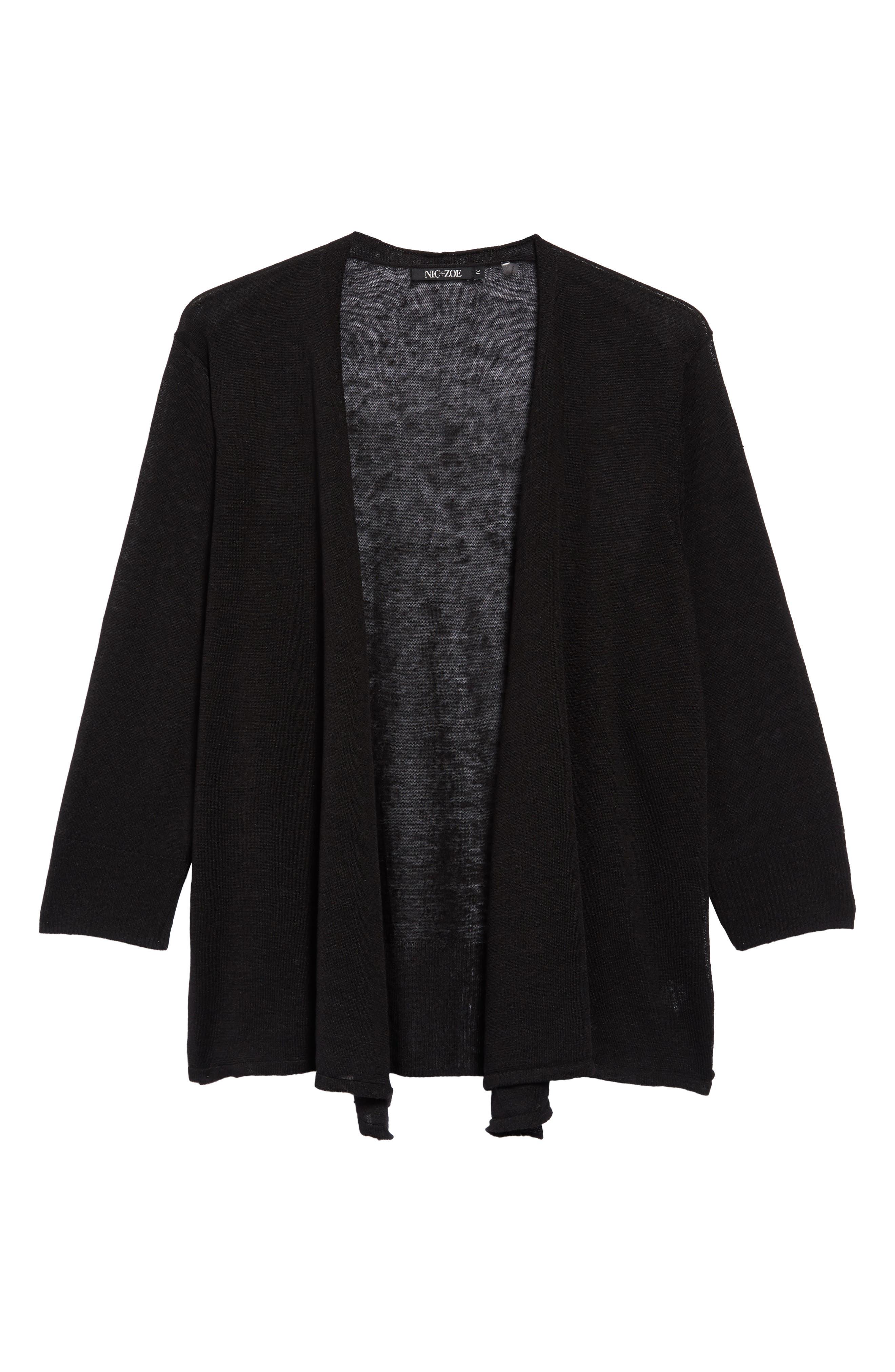 '4-Way' Three Quarter Sleeve Convertible Cardigan,                             Main thumbnail 1, color,                             BLACK ONYX