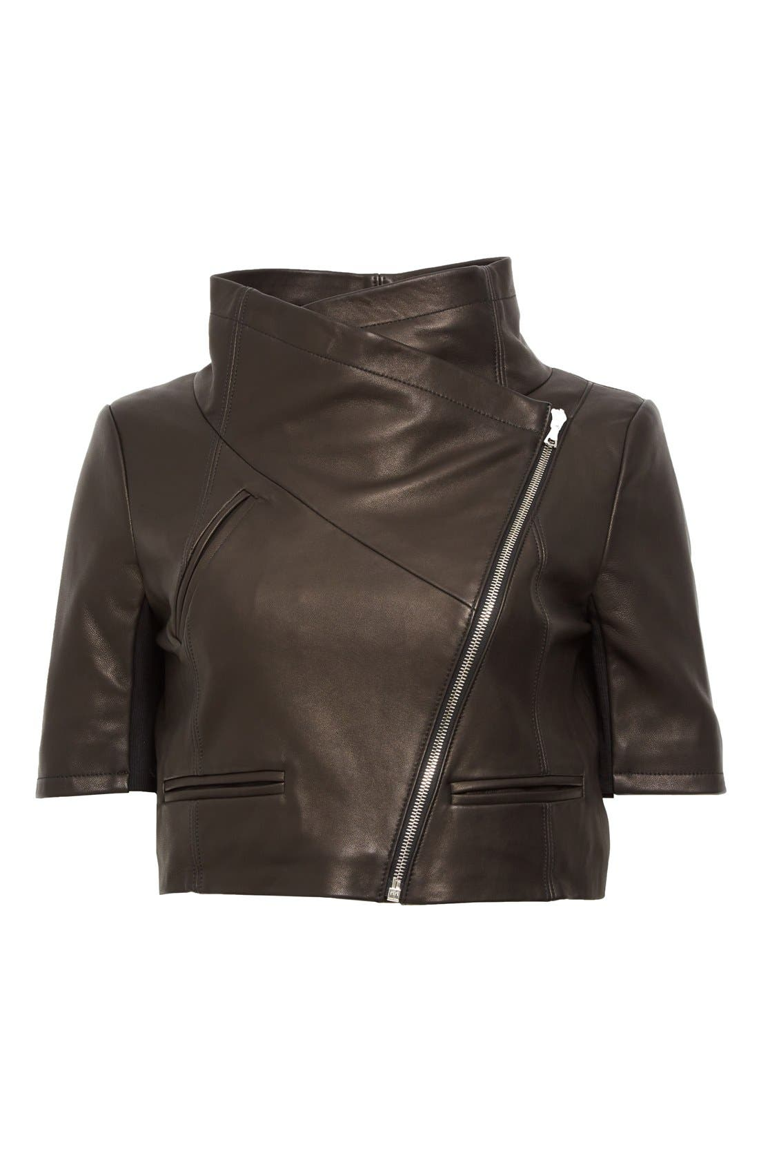 'Gimmy' Crop Lambskin Leather Jacket,                             Alternate thumbnail 2, color,                             006