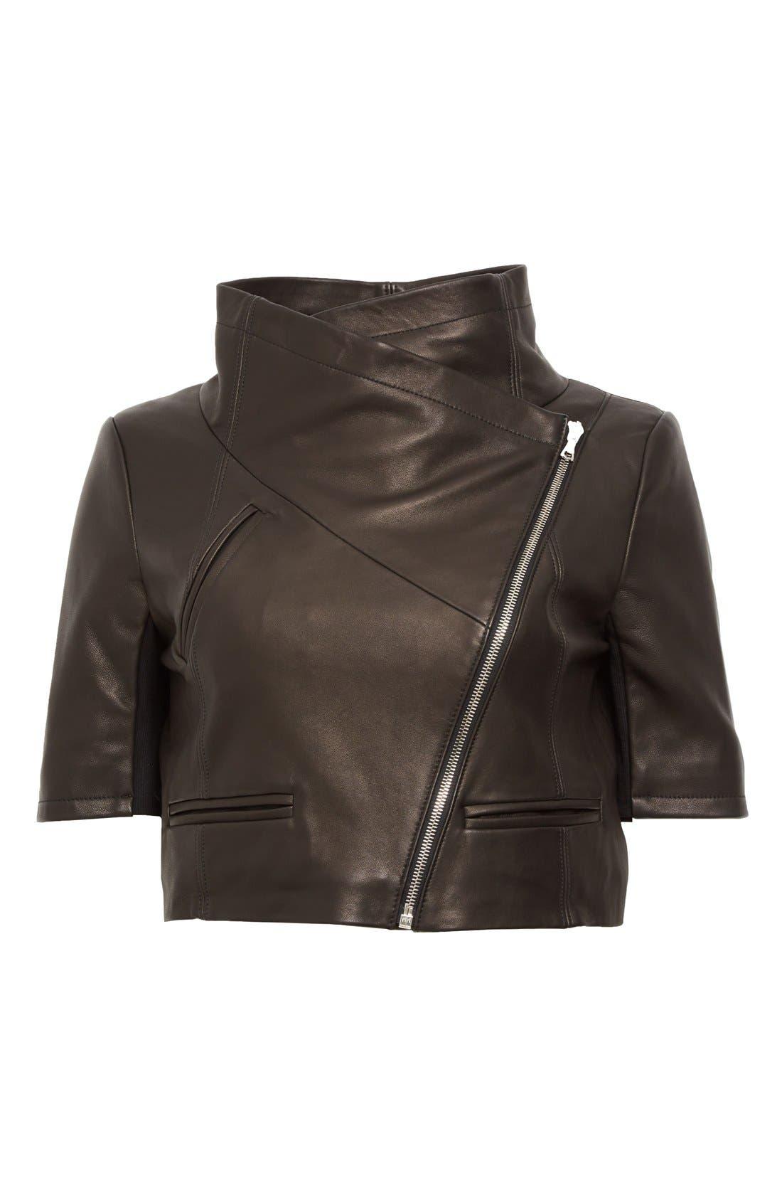 'Gimmy' Crop Lambskin Leather Jacket,                             Alternate thumbnail 2, color,