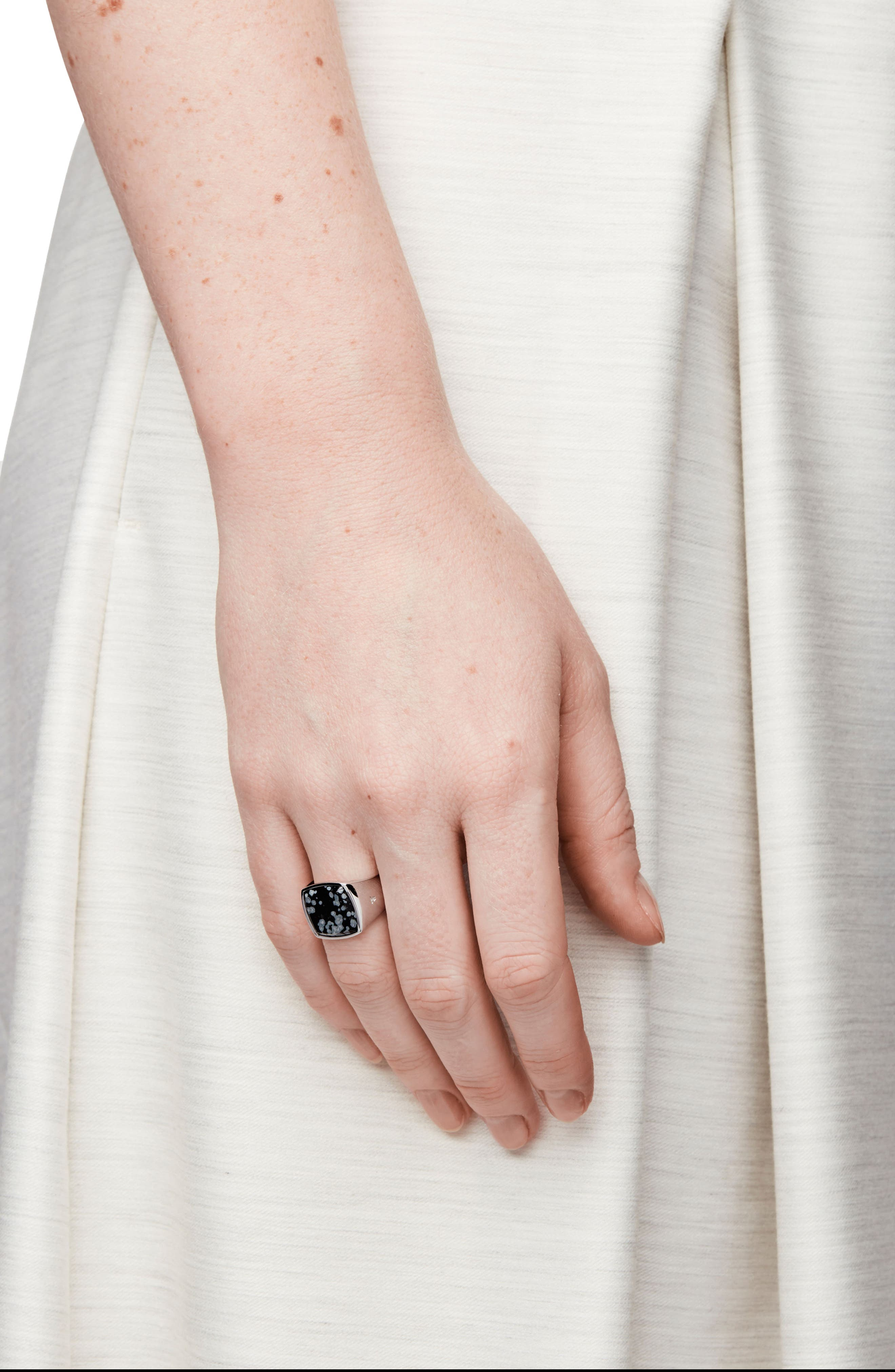 Snowflake Obsidian Cushion Signet Ring,                             Alternate thumbnail 3, color,                             040