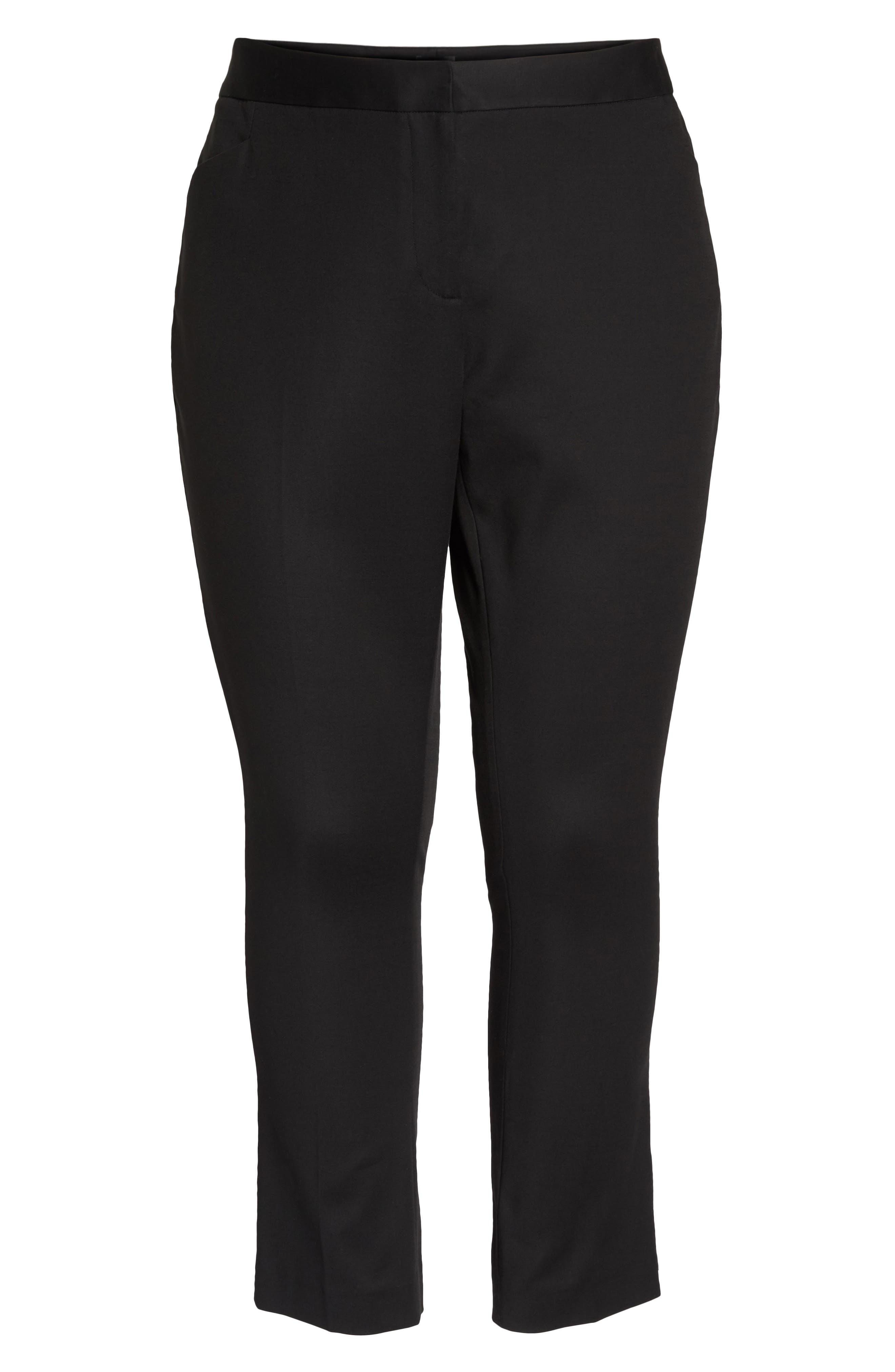 Stretch Cotton Blend Ankle Pants,                             Alternate thumbnail 7, color,                             RICH BLACK
