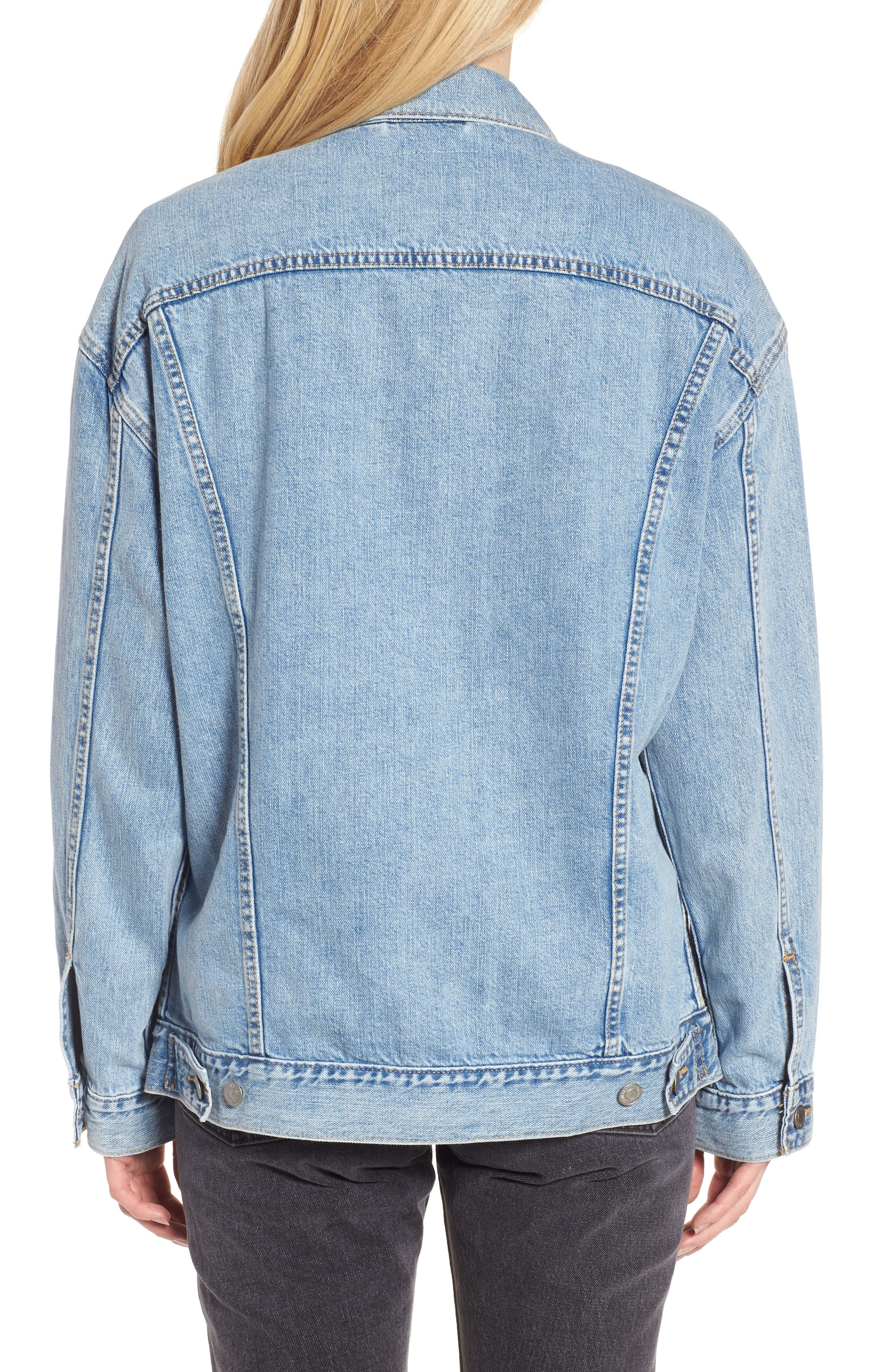 Baggy Trucker Denim Jacket,                             Alternate thumbnail 2, color,                             TRUE LIFE