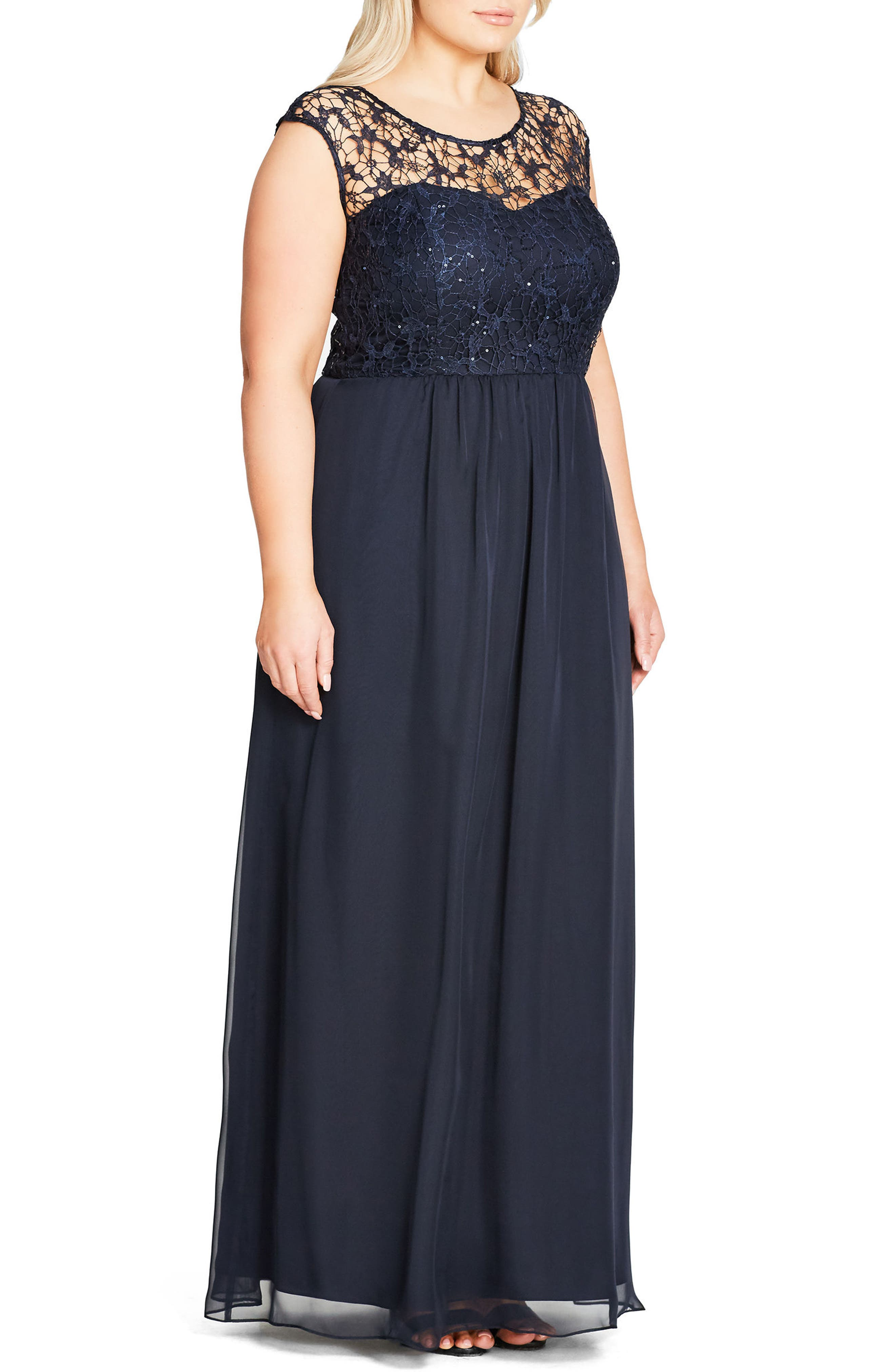 Sequin Lace Gown,                             Alternate thumbnail 3, color,                             NAVY MIDNIGHT