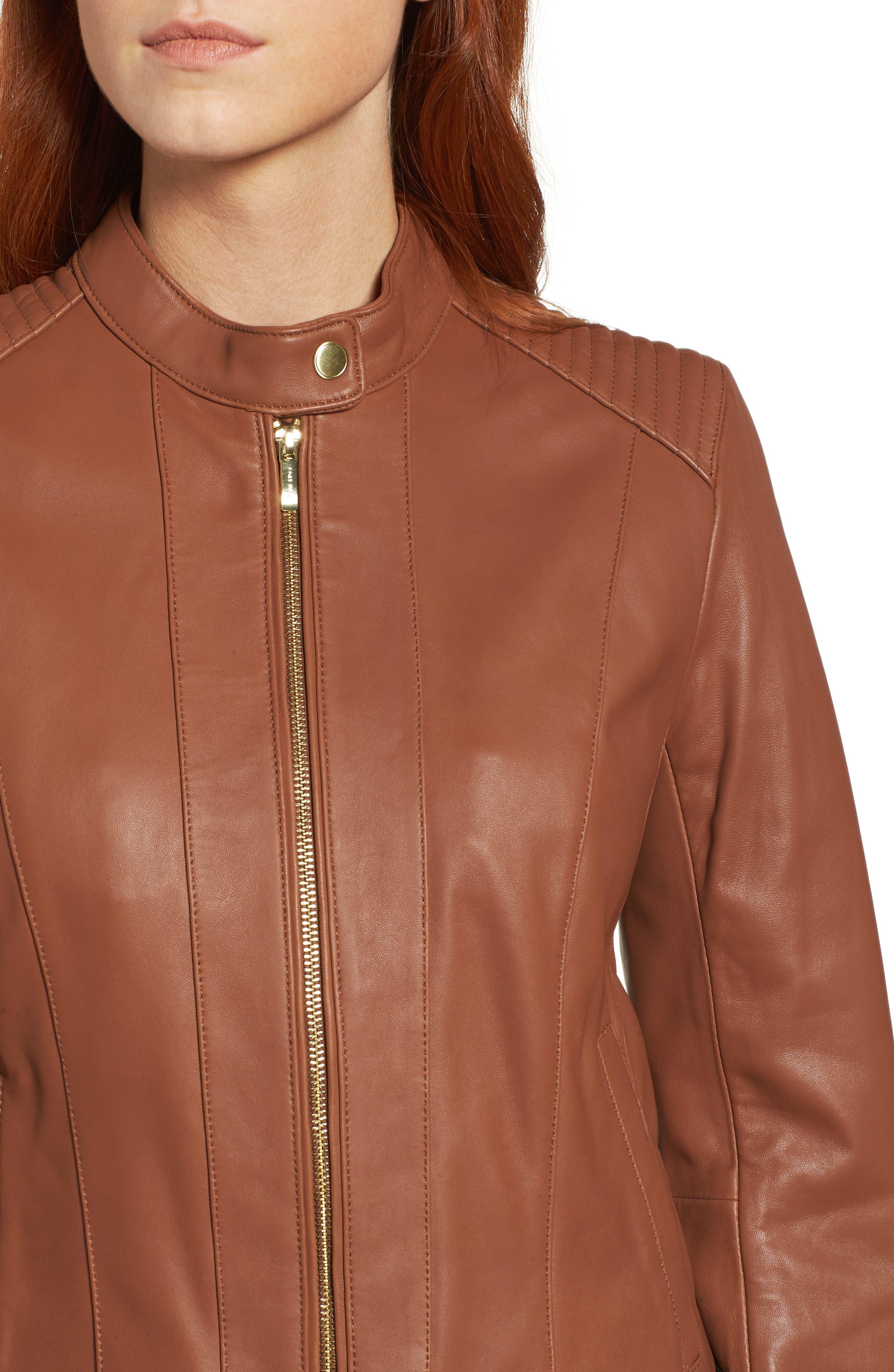 Leather Moto Jacket,                             Alternate thumbnail 4, color,                             NO_COLOR