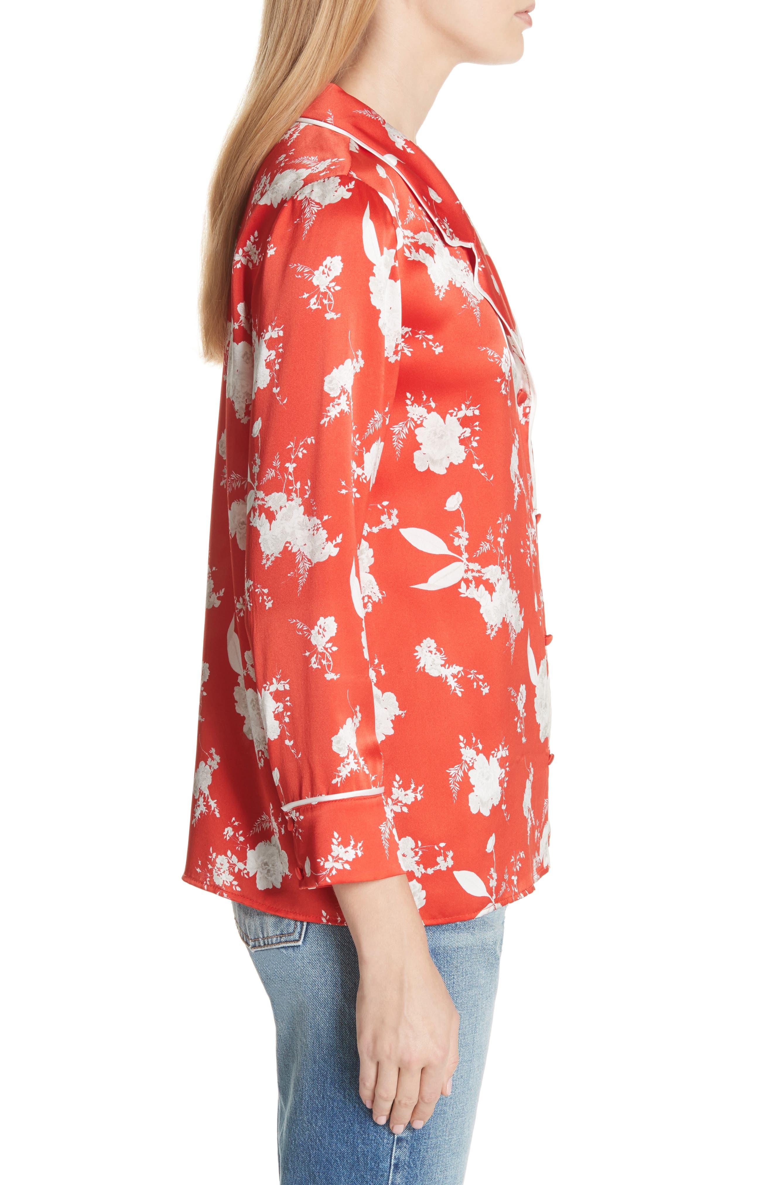 Keir Floral Silk Pajama Shirt,                             Alternate thumbnail 3, color,                             606