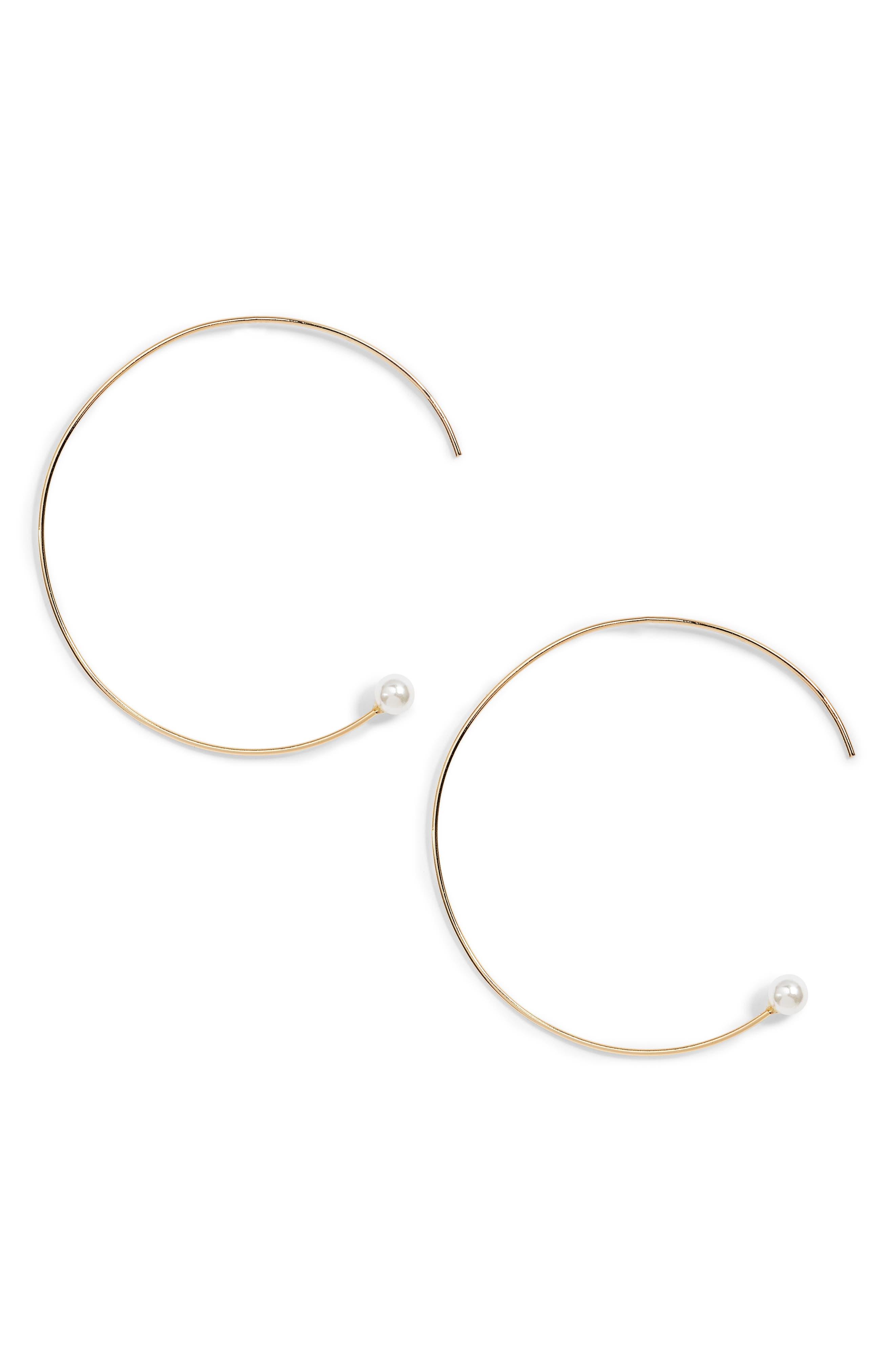 Yoshi Imitation Pearl Hoop Earrings,                             Main thumbnail 1, color,                             710