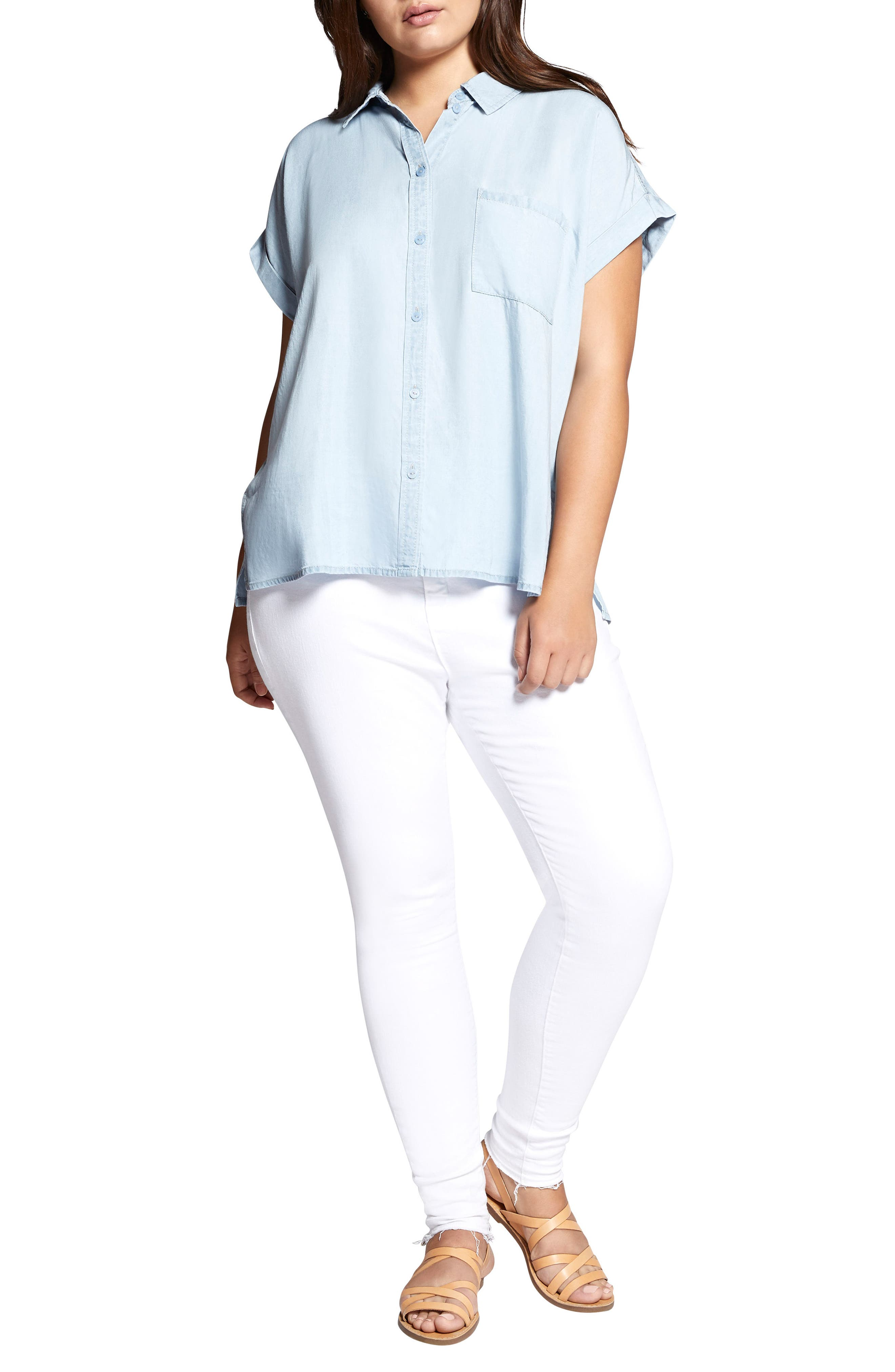 SANCTUARY,                             Mod Short Sleeve Boyfriend Shirt,                             Alternate thumbnail 4, color,                             450