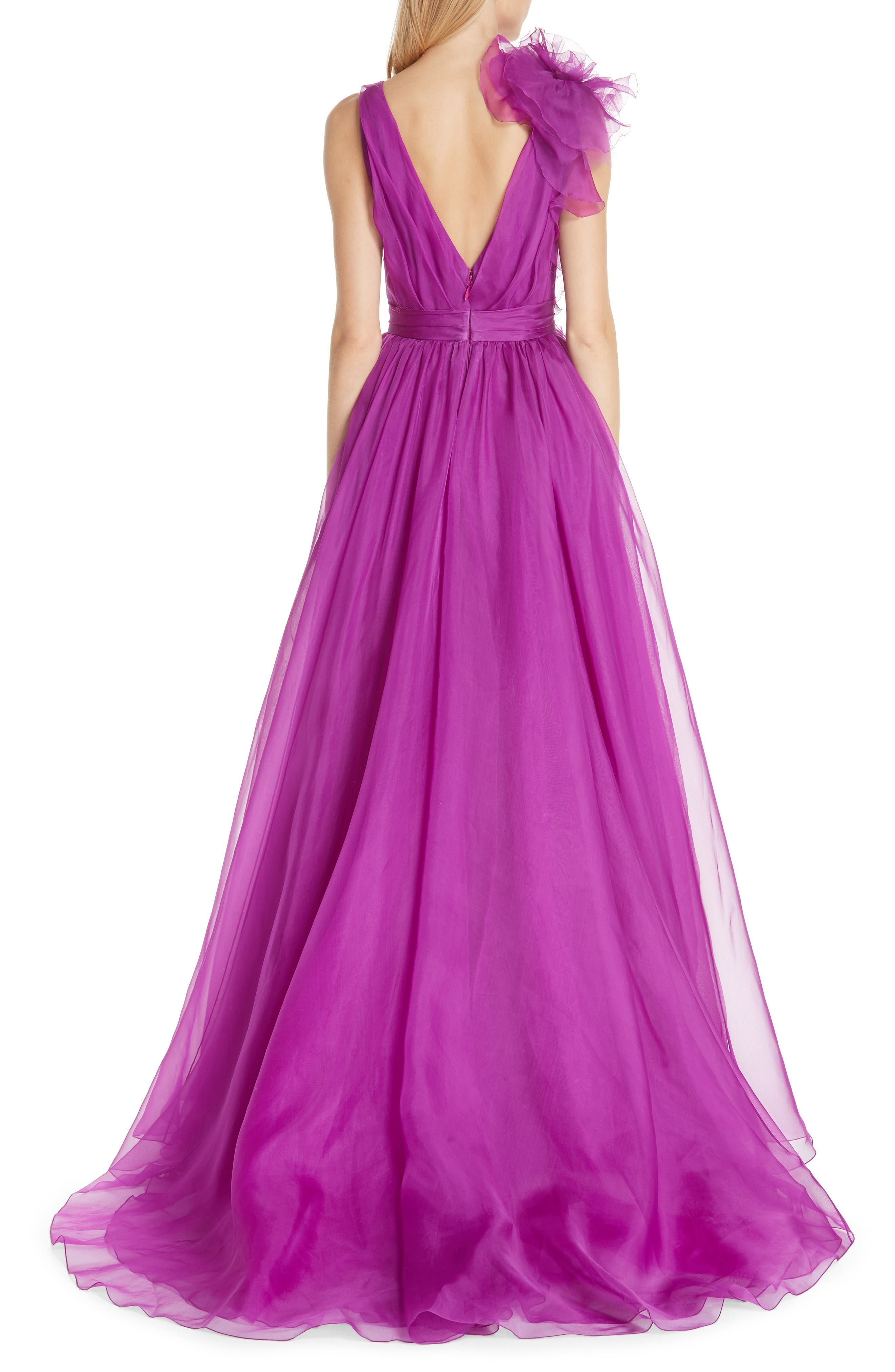 Ruffle Silk Organza Evening Dress,                             Alternate thumbnail 2, color,                             ORCHID