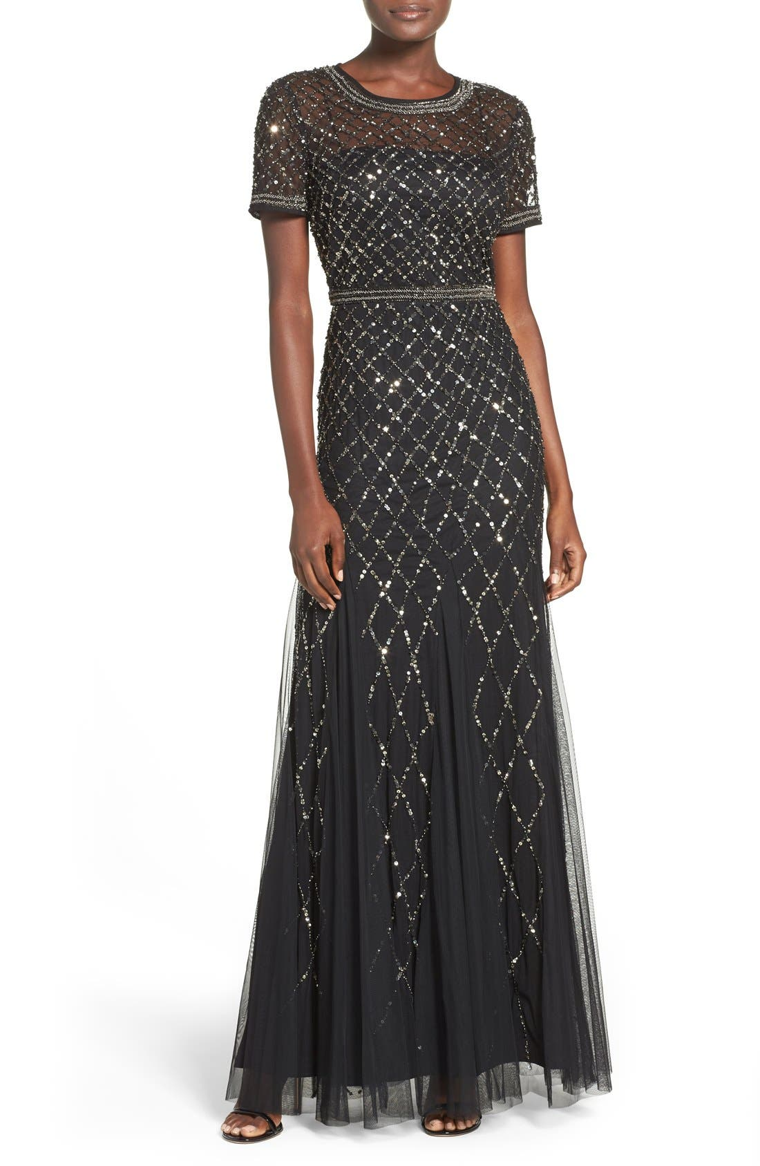 Beaded Mesh Gown,                             Main thumbnail 7, color,