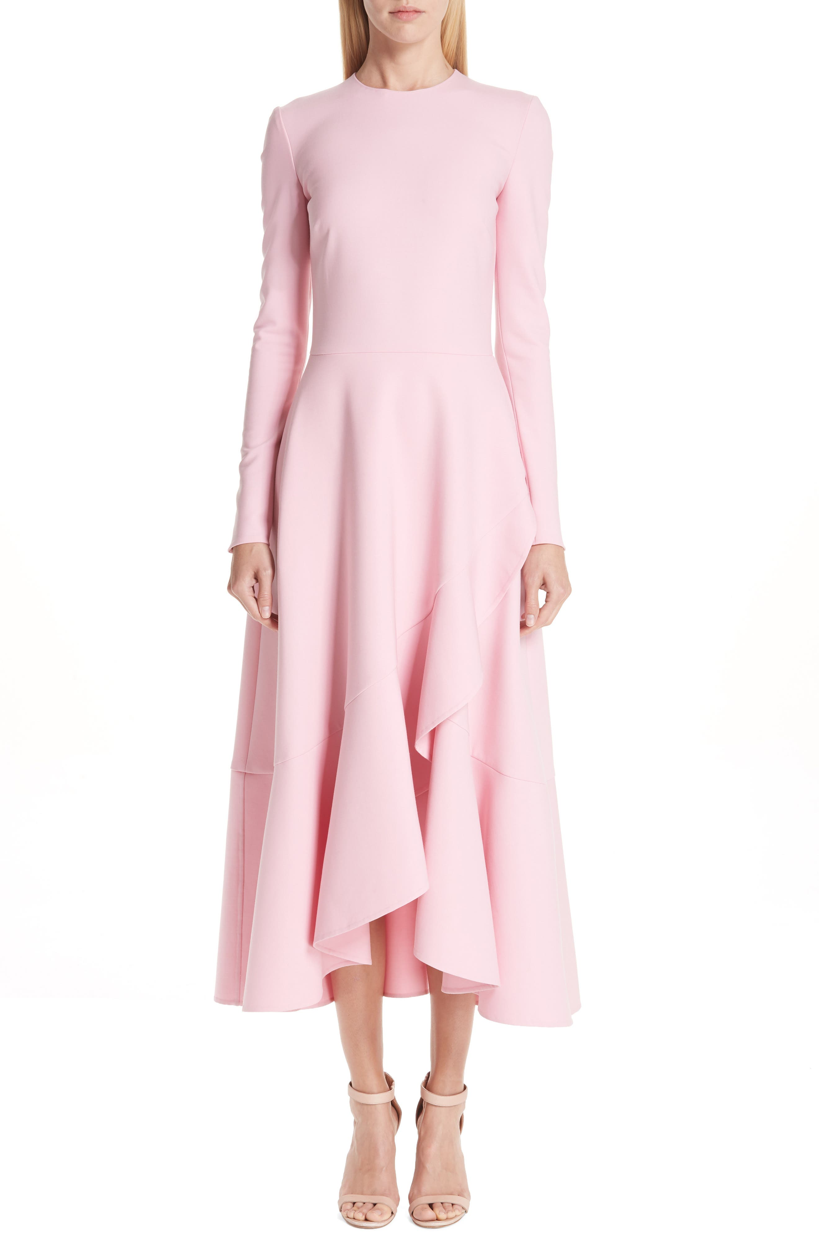 Oscar De La Renta High/low Ruffle Hem Stretch Wool Midi Dress, Pink