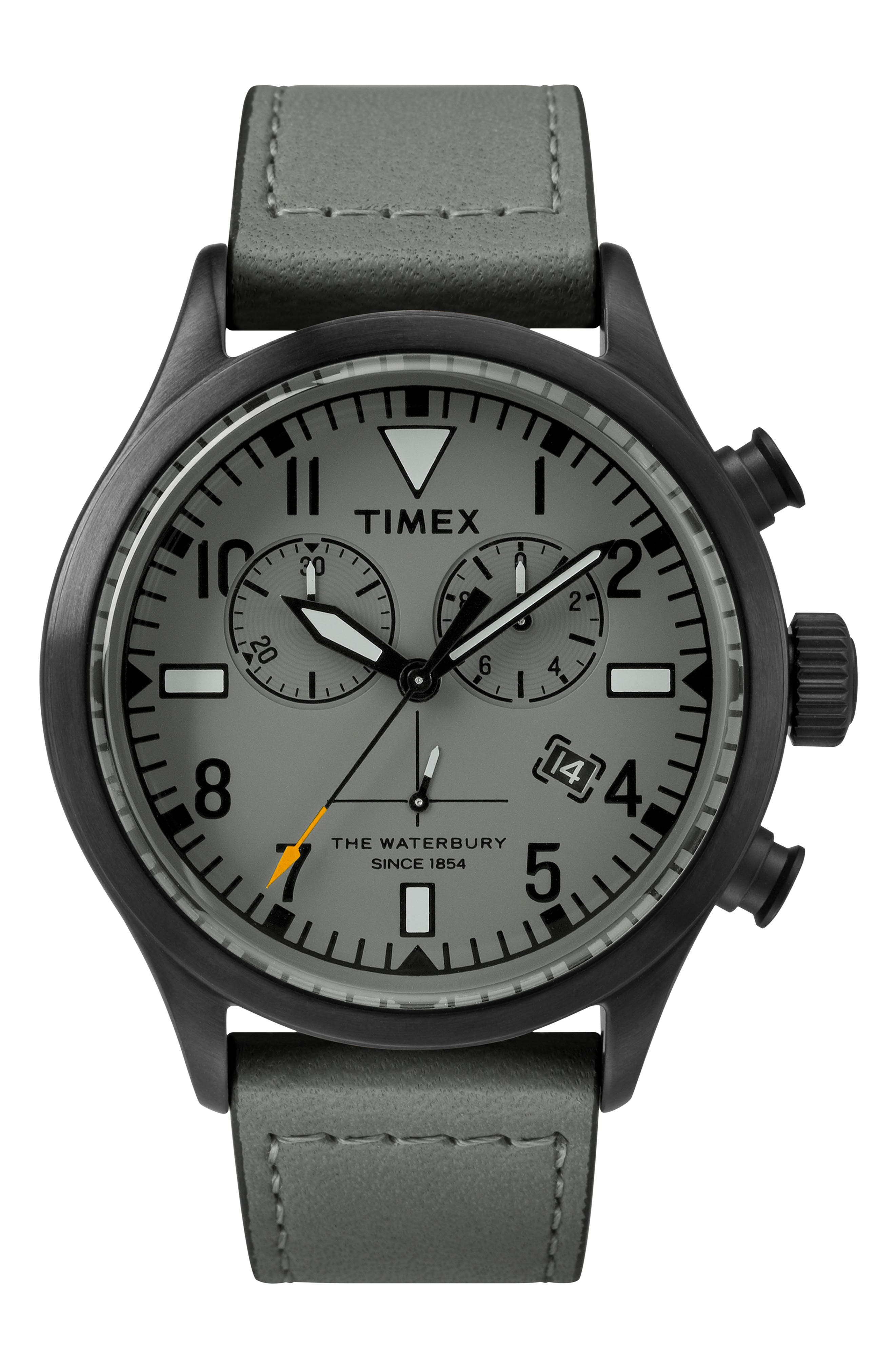 Timex<sup>®</sup> x Todd Snyder The Military Chronograph Leather Strap Watch Set, 43mm,                         Main,                         color, GREY/ GREY