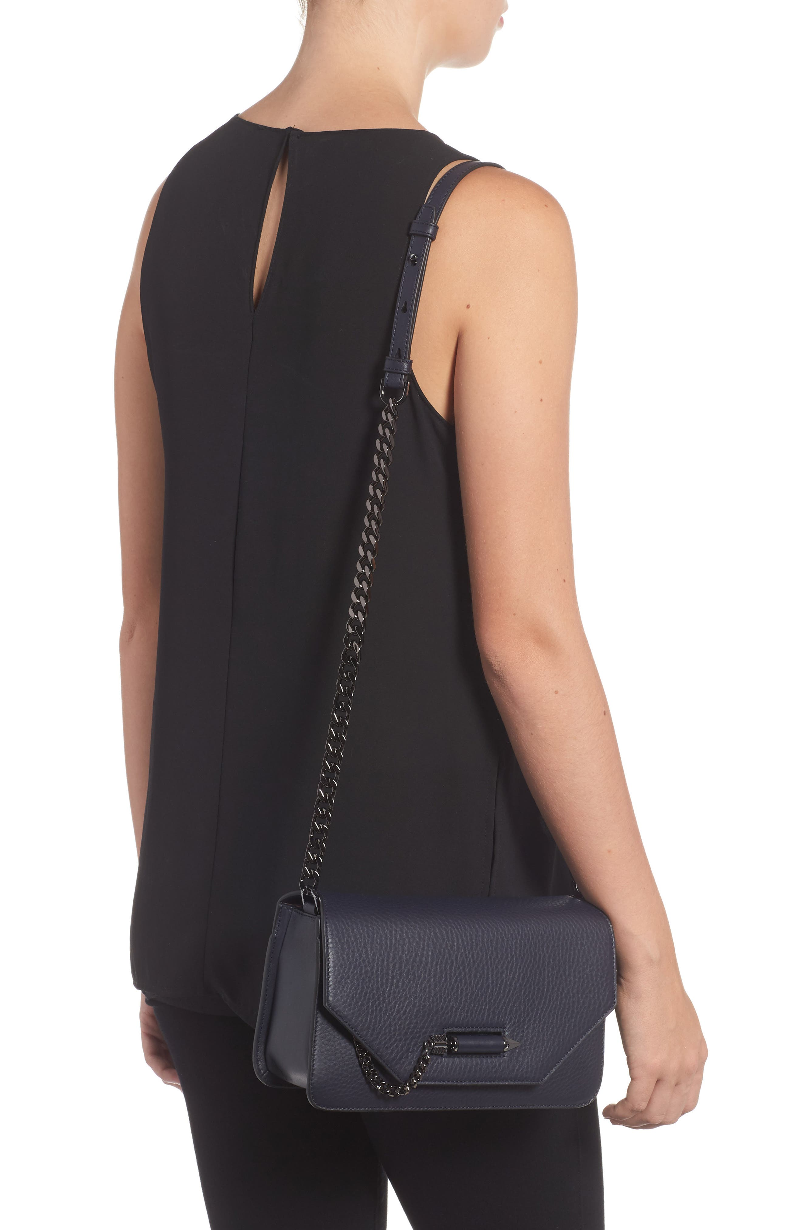 Cortney Nappa Leather Shoulder/Crossbody Bag,                             Alternate thumbnail 8, color,