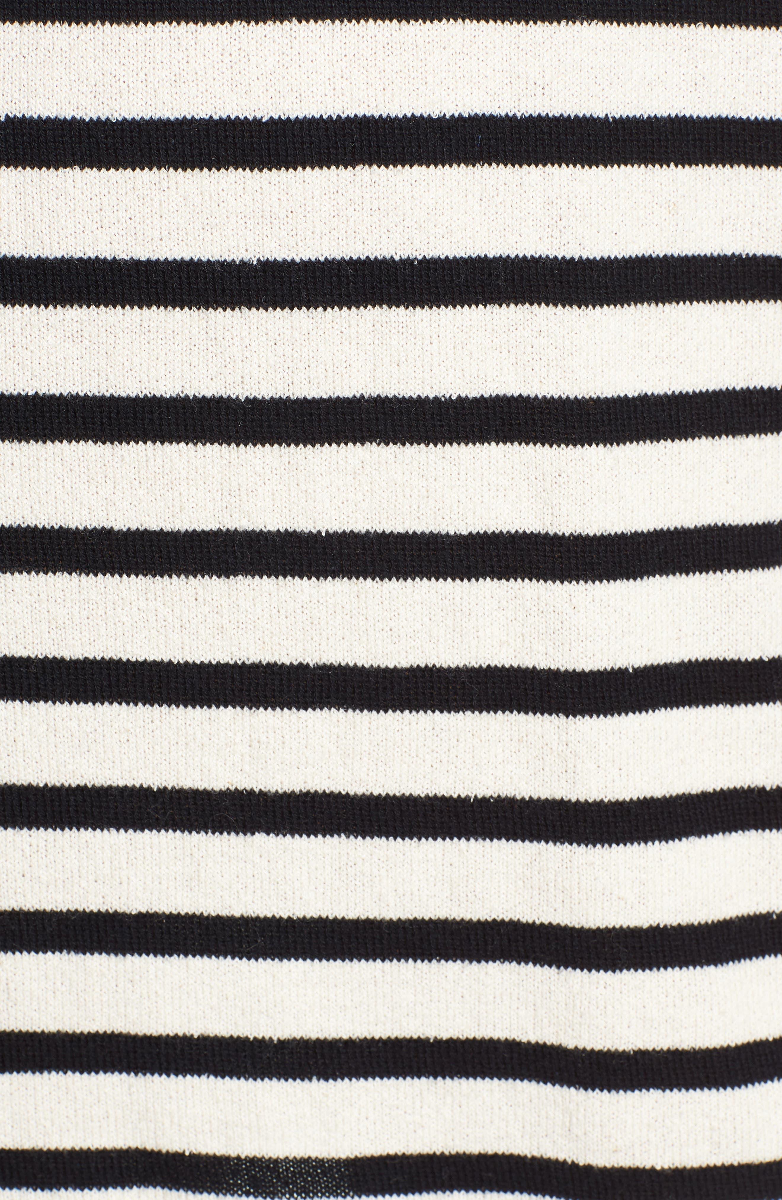 Striped Hoodie Dress,                             Alternate thumbnail 7, color,                             BLACK/ WHITE