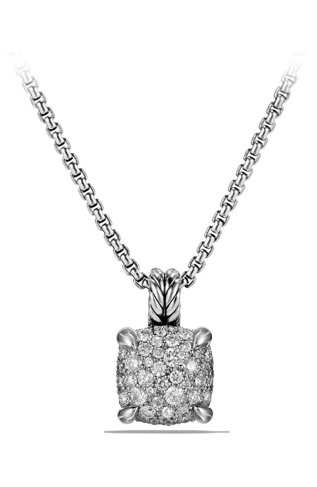 'Châtelaine' Pendant Necklace with Diamonds,                             Main thumbnail 1, color,                             SILVER