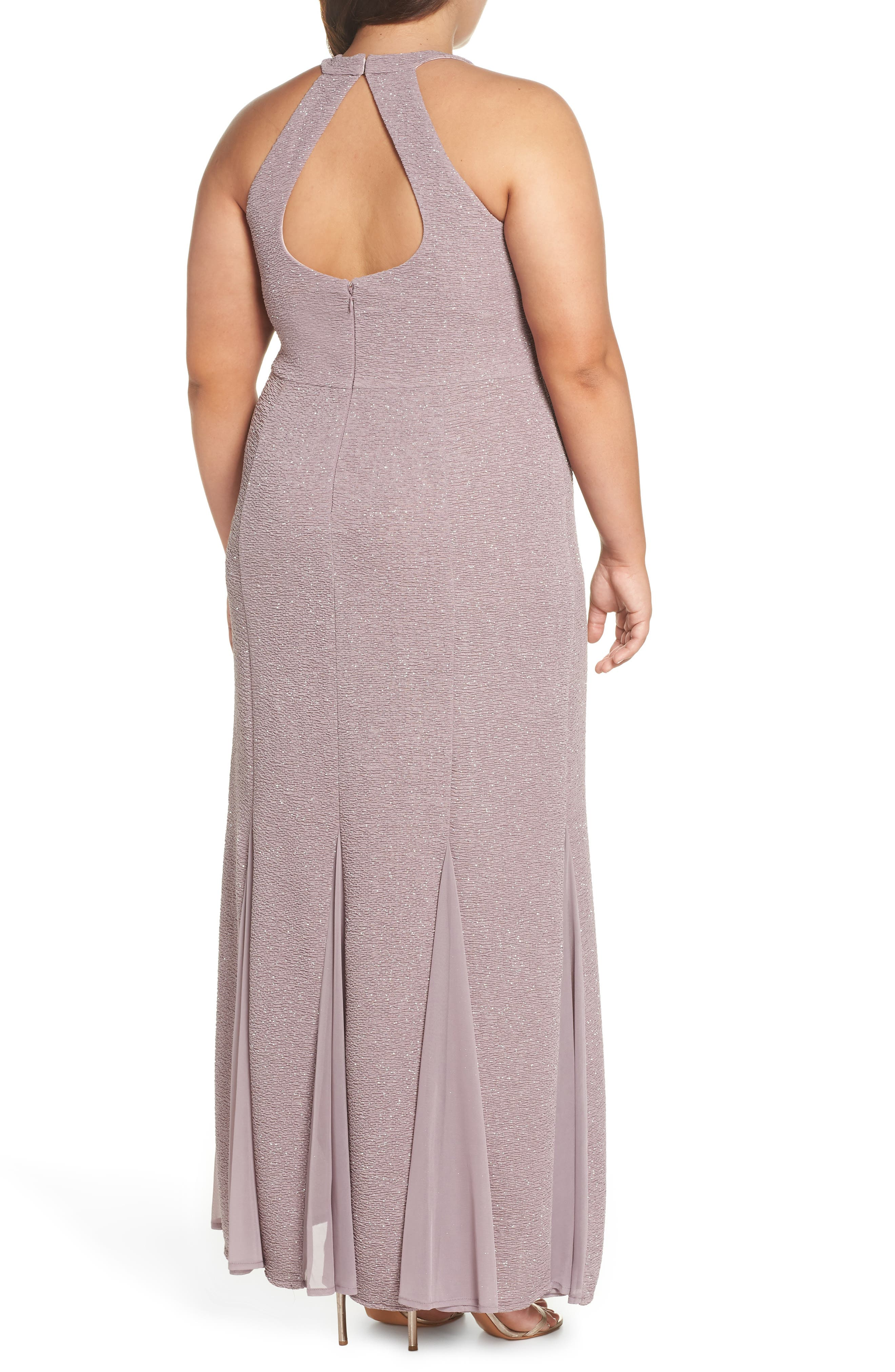 Keyhole Glitter Knit Trumpet Gown,                             Alternate thumbnail 2, color,                             CHAMPAGNE