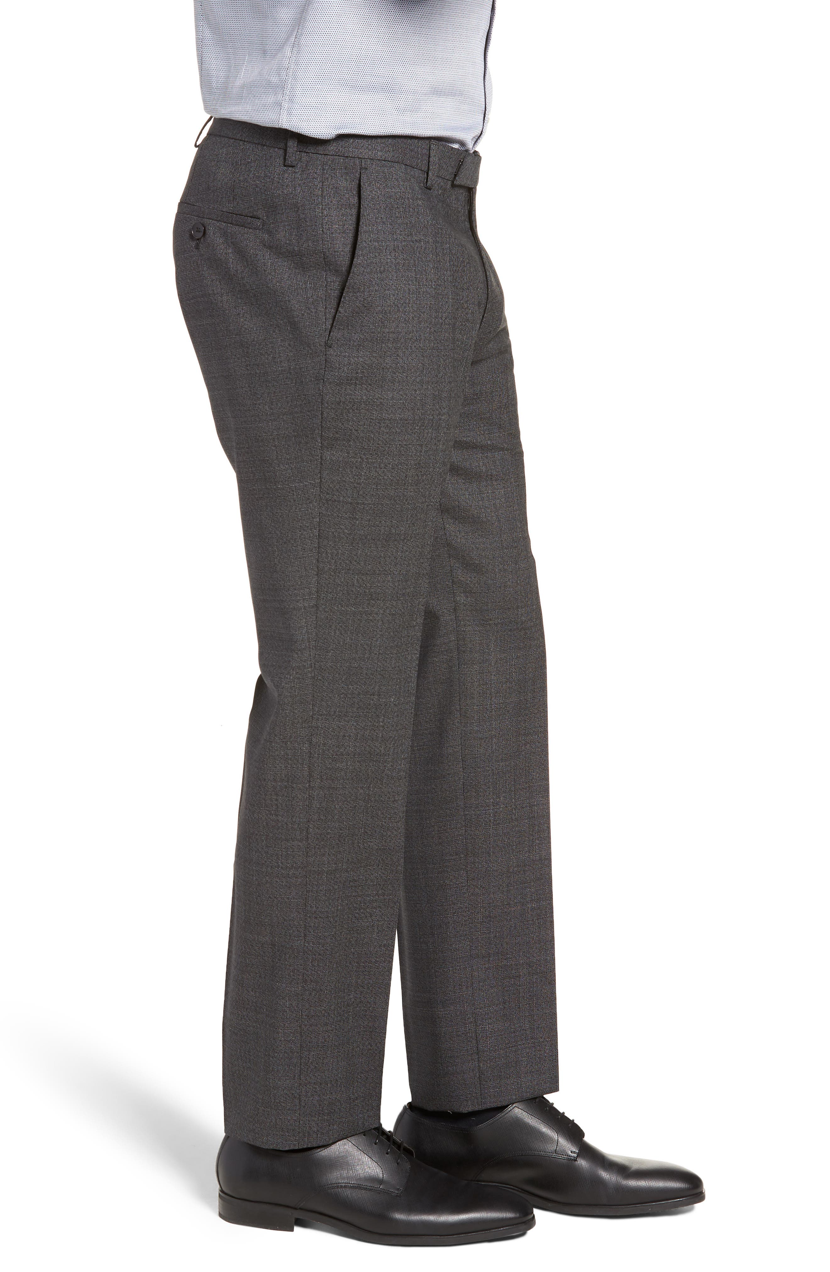 Leenon Flat Front Solid Wool Trousers,                             Alternate thumbnail 3, color,                             CHARCOAL
