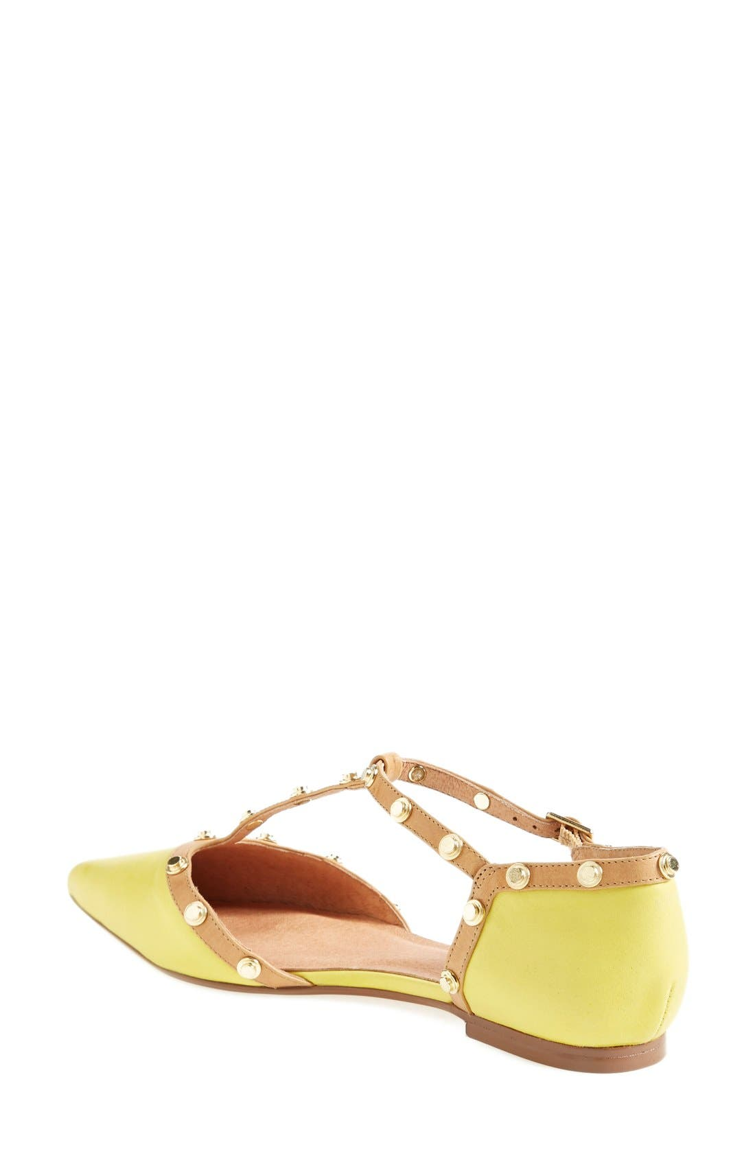 'Olson' Pointy Toe Studded T-Strap Flat,                             Alternate thumbnail 67, color,