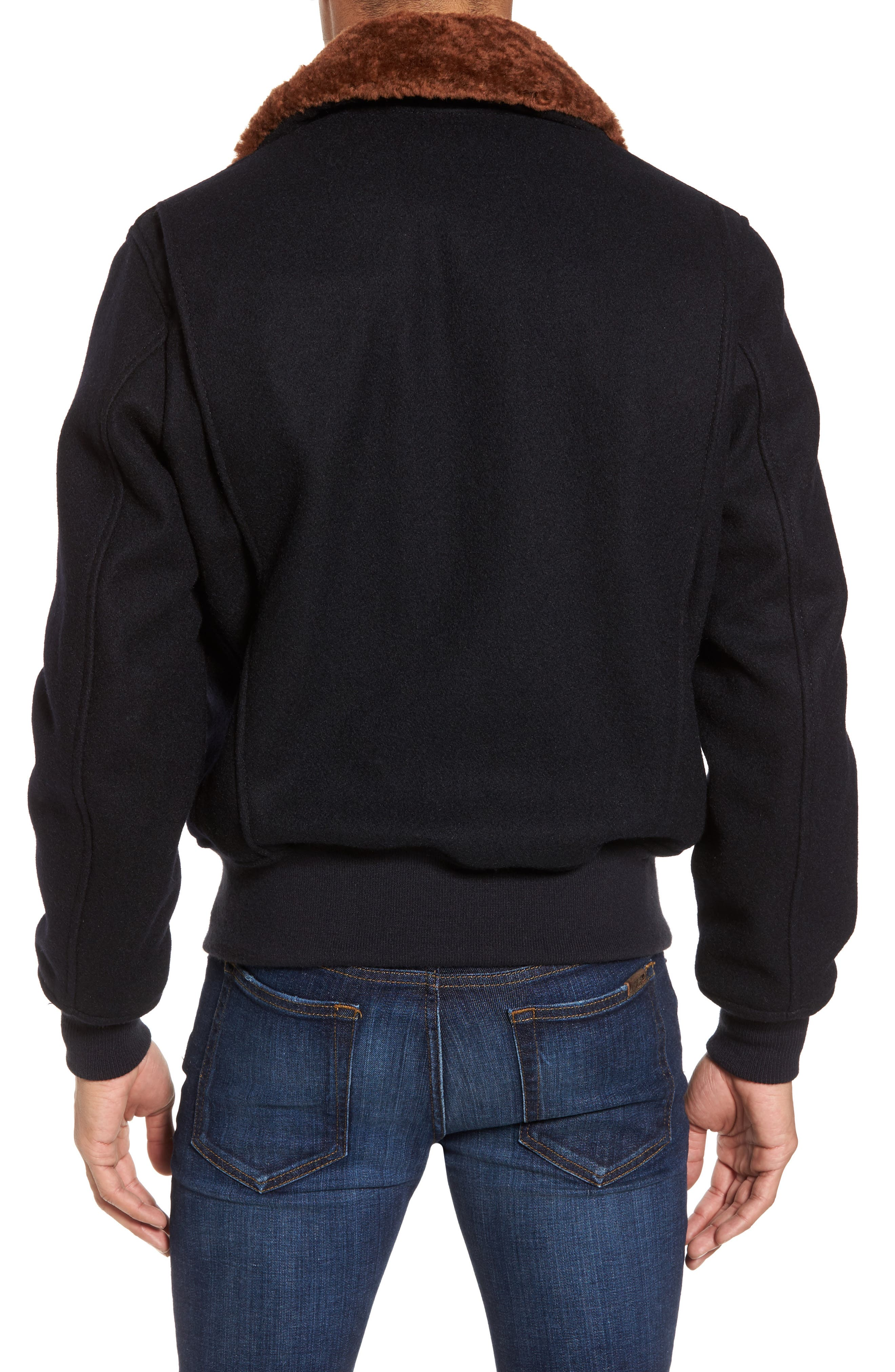 SchottNYC'G-1' Zip Front Bomber with Genuine Shearling Collar,                             Alternate thumbnail 3, color,                             410