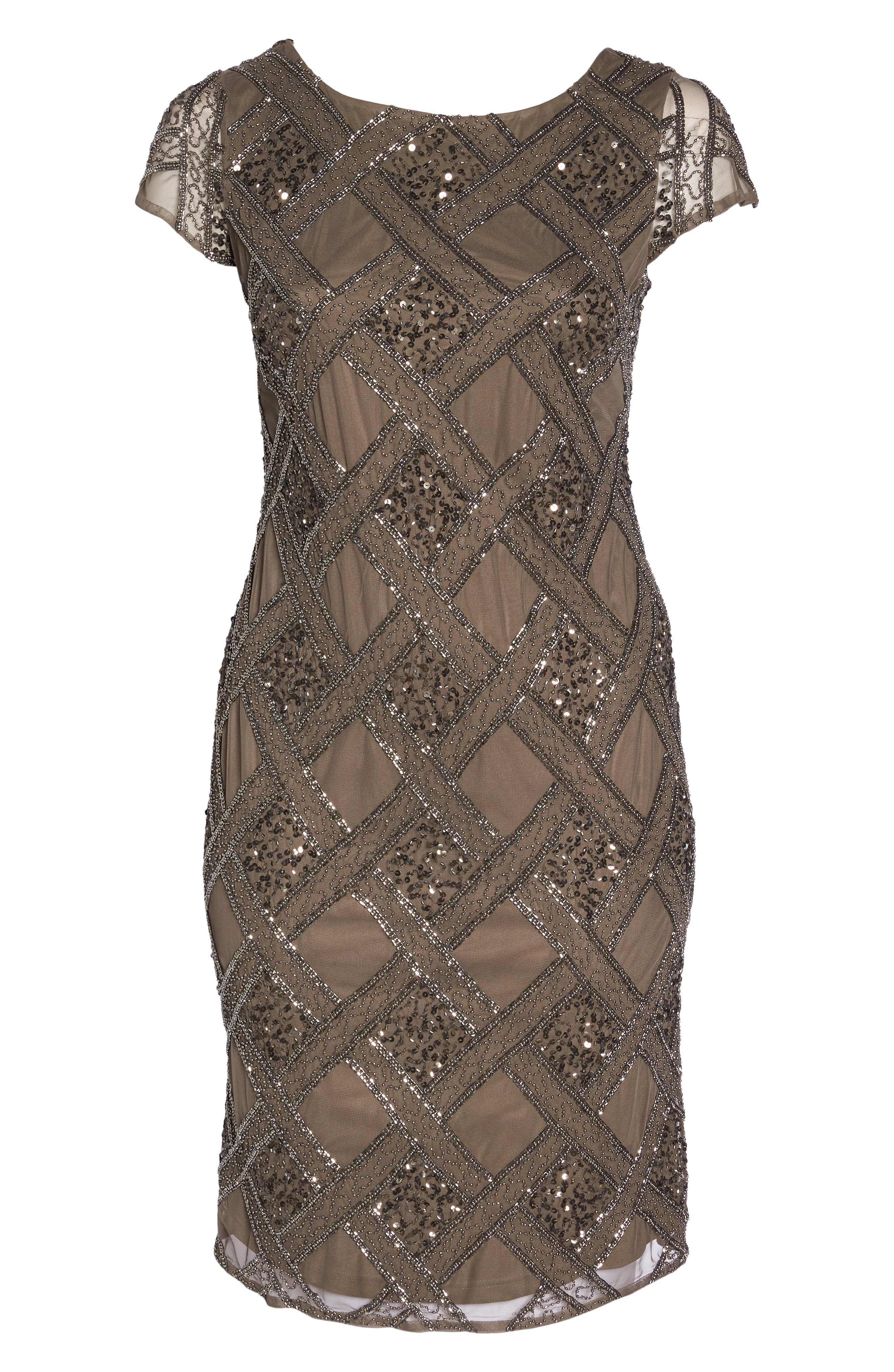 ADRIANNA PAPELL,                             Beaded Cap Sleeve Sheath Dress,                             Alternate thumbnail 6, color,                             050