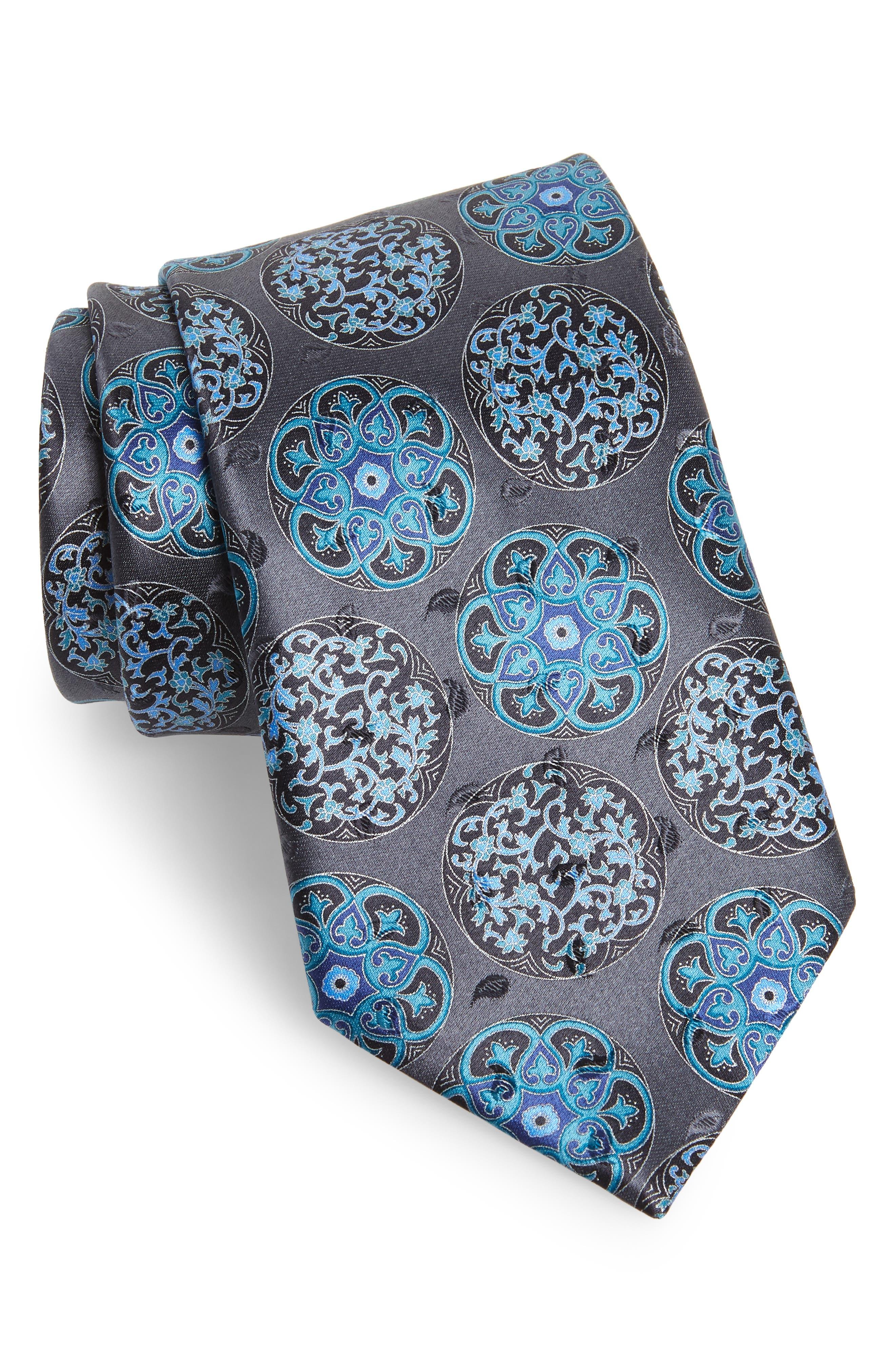 Medallion Silk Tie,                             Main thumbnail 1, color,                             038