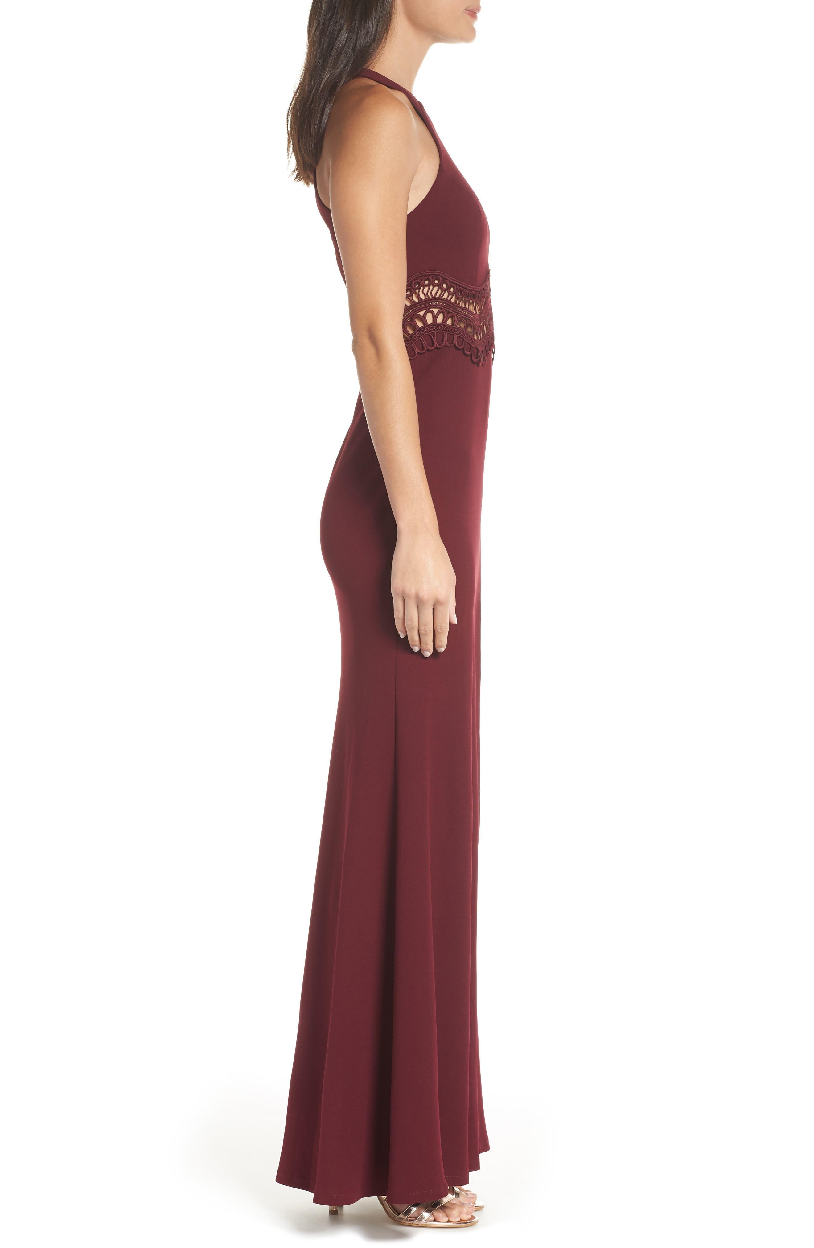Front Slit Scuba Crepe Gown,                             Alternate thumbnail 3, color,                             MALBEC