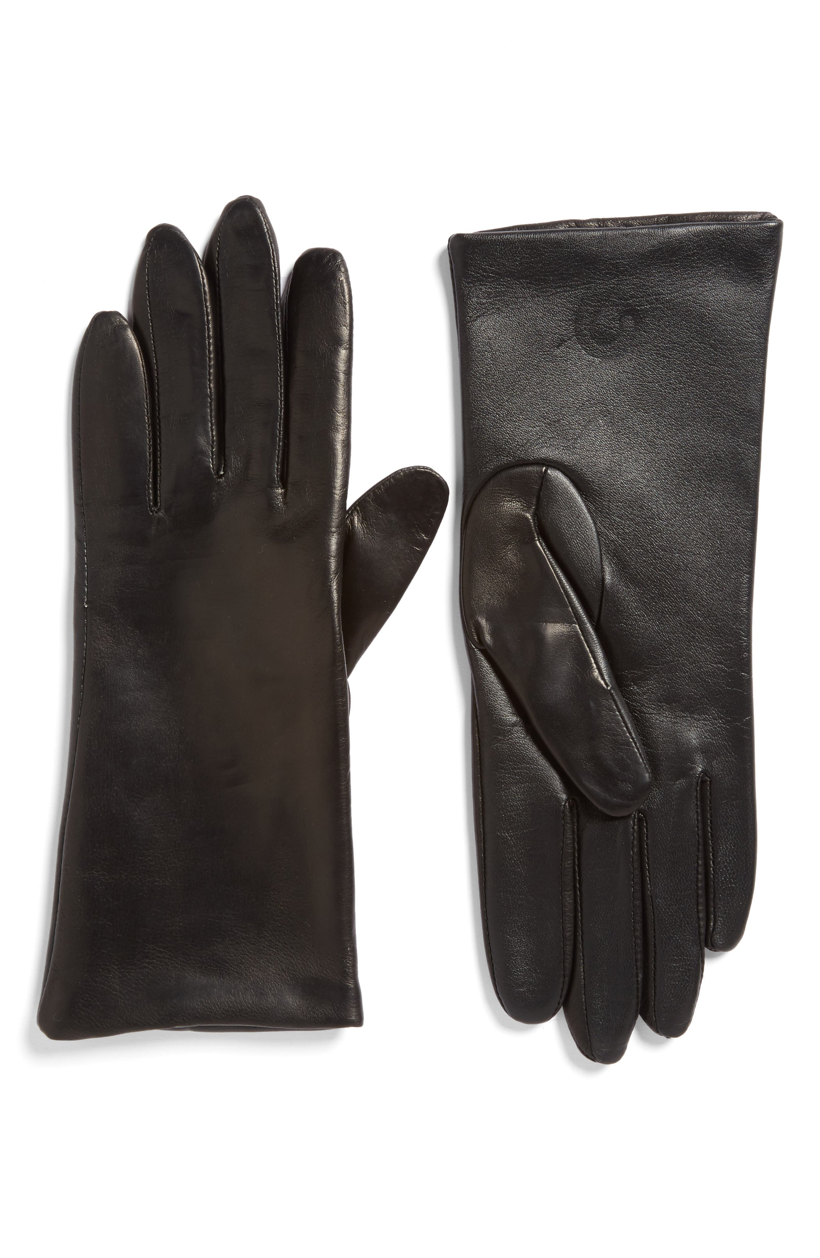 'Basic Tech' Cashmere Lined Leather Gloves, Main, color, 001