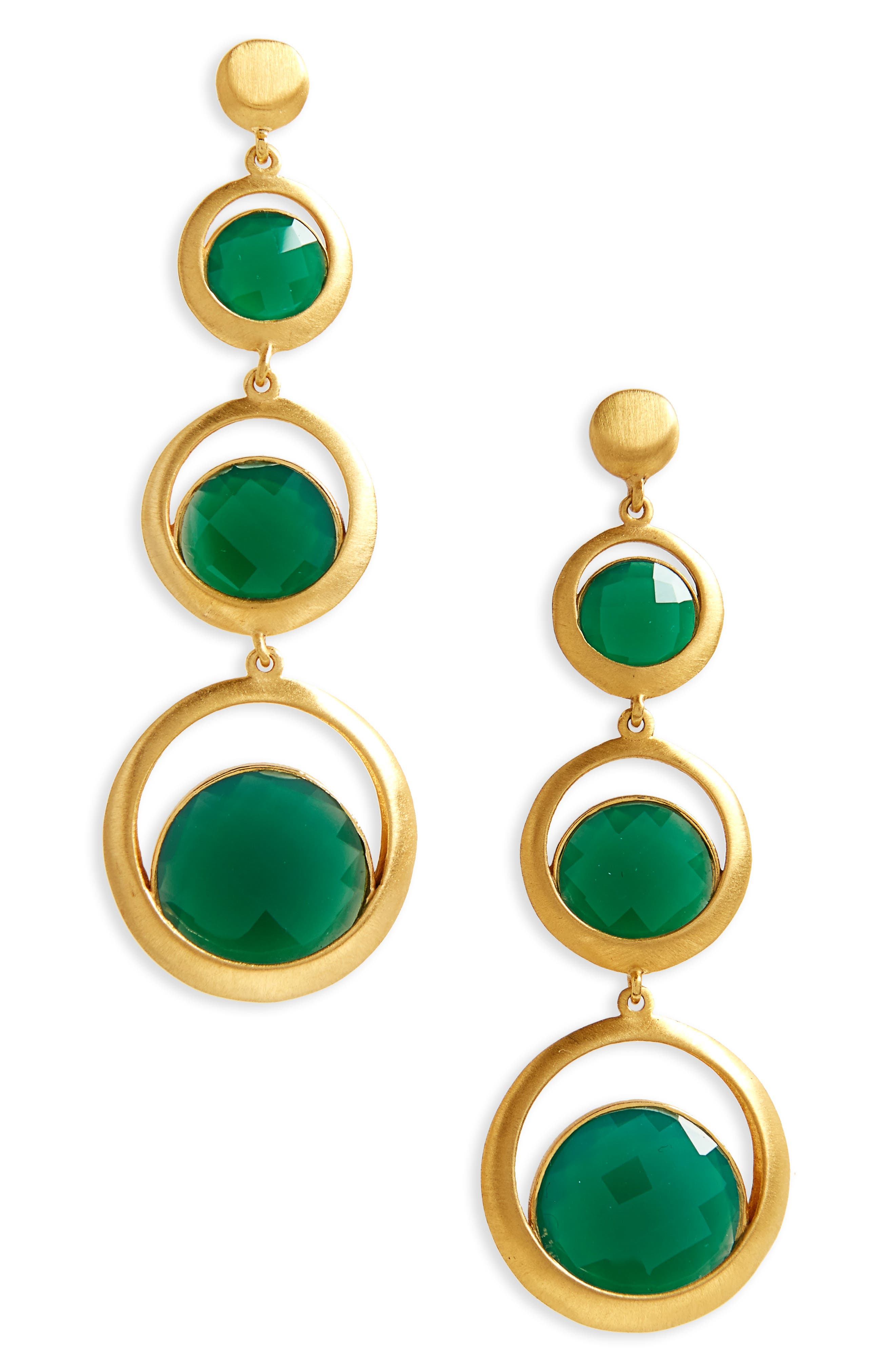 Triple Semiprecious Stone Drop Earrings,                             Main thumbnail 2, color,