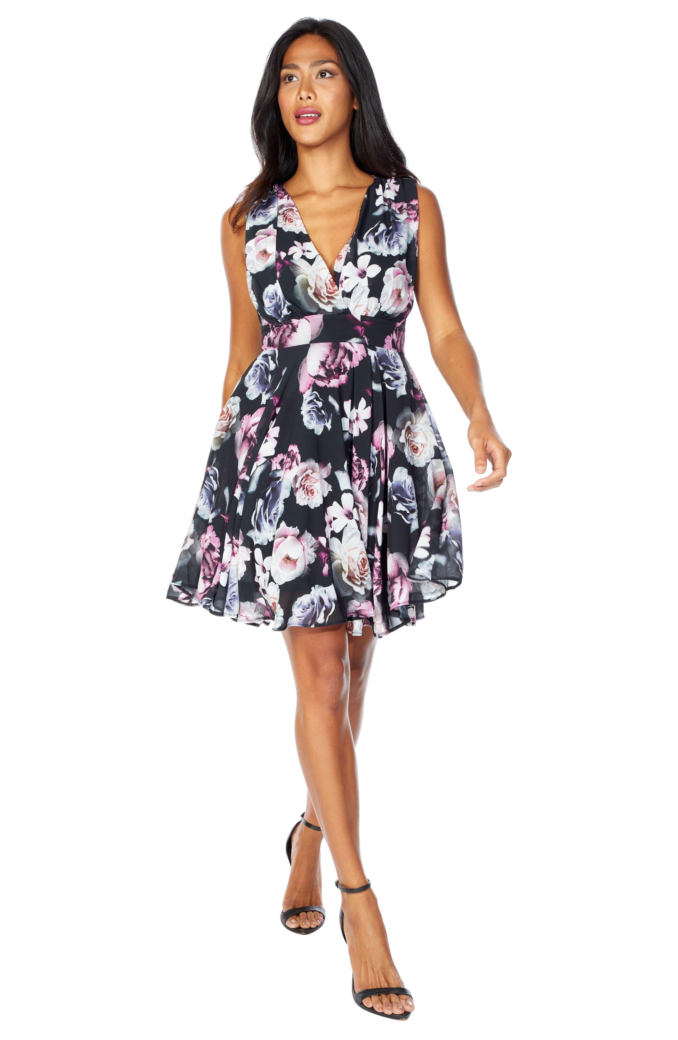 V-Neck Fit & Flare Dress,                             Alternate thumbnail 5, color,                             BLACK