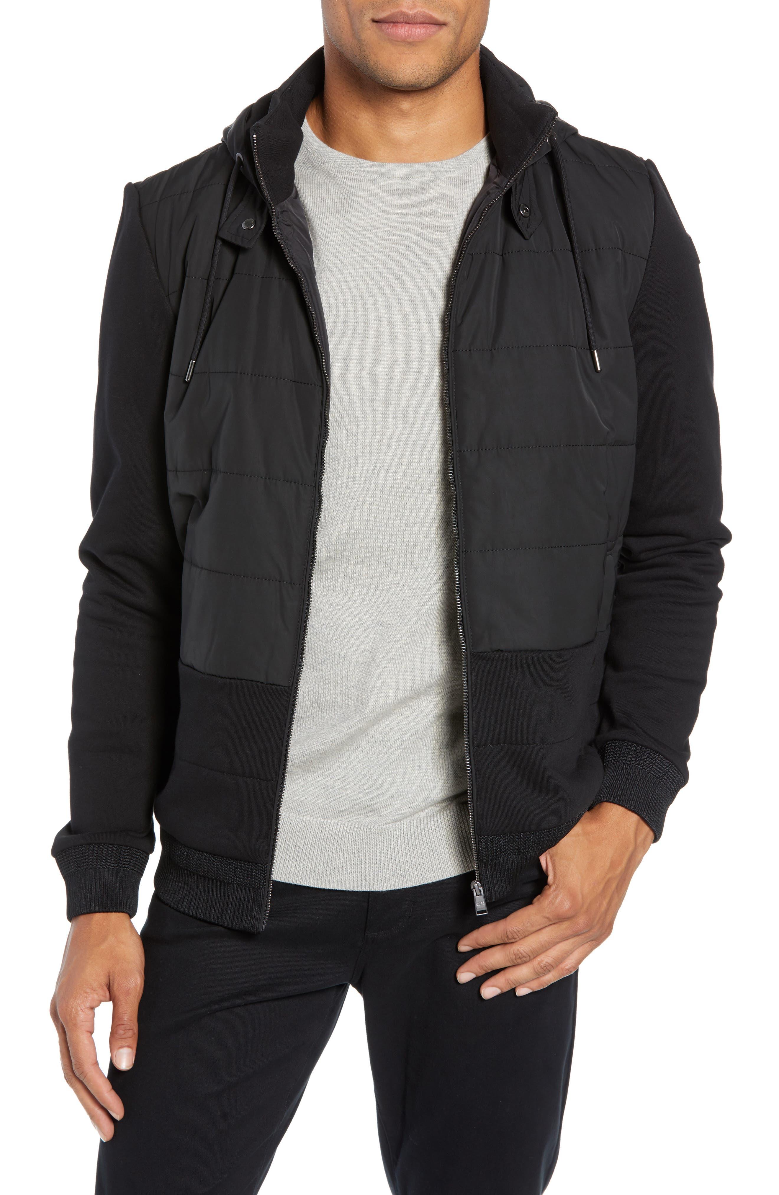 Skiles Quilted Zip Hoodie,                         Main,                         color, BLACK